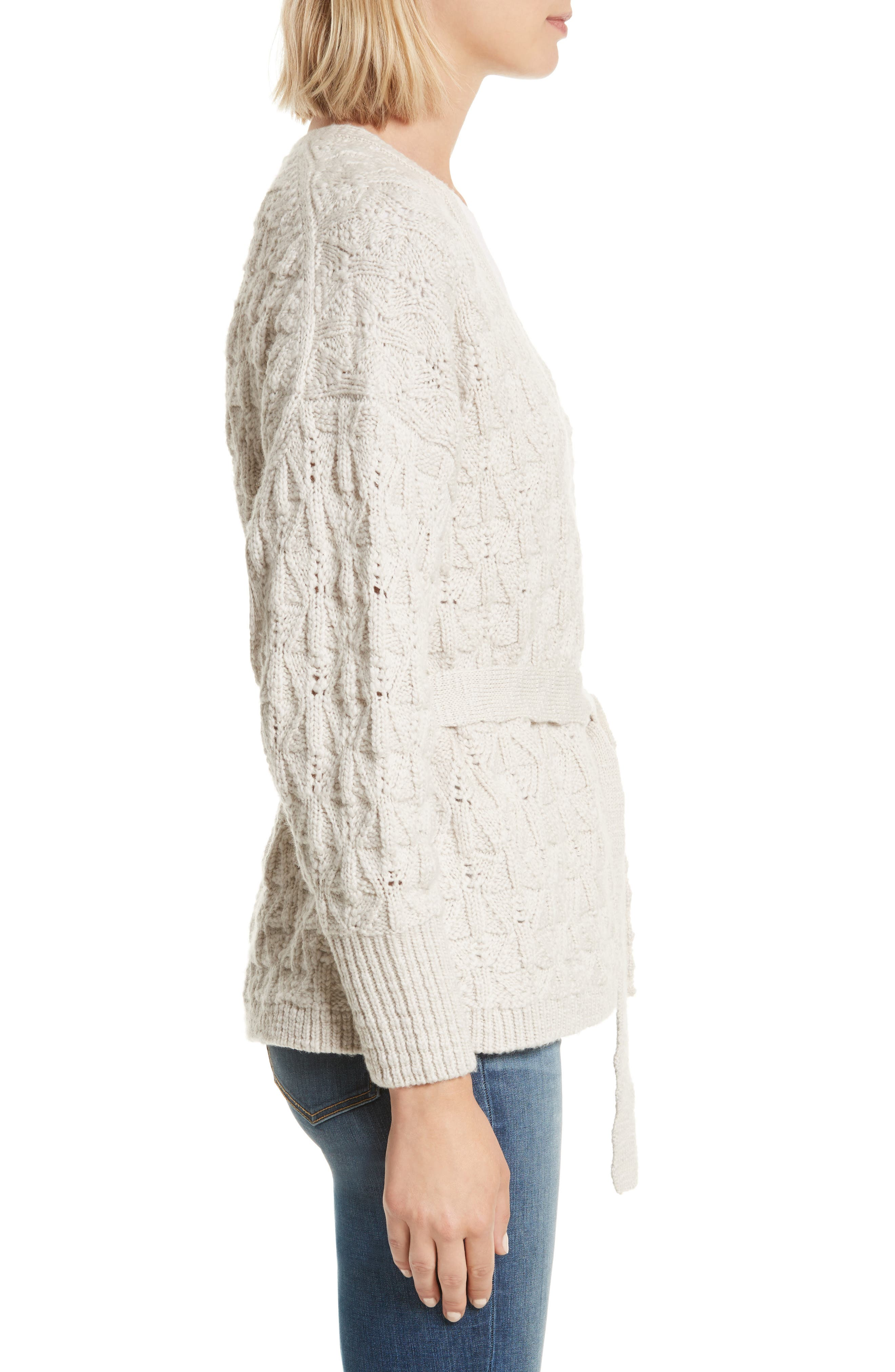 Belted Merino Wool Cardigan,                             Alternate thumbnail 3, color,                             285