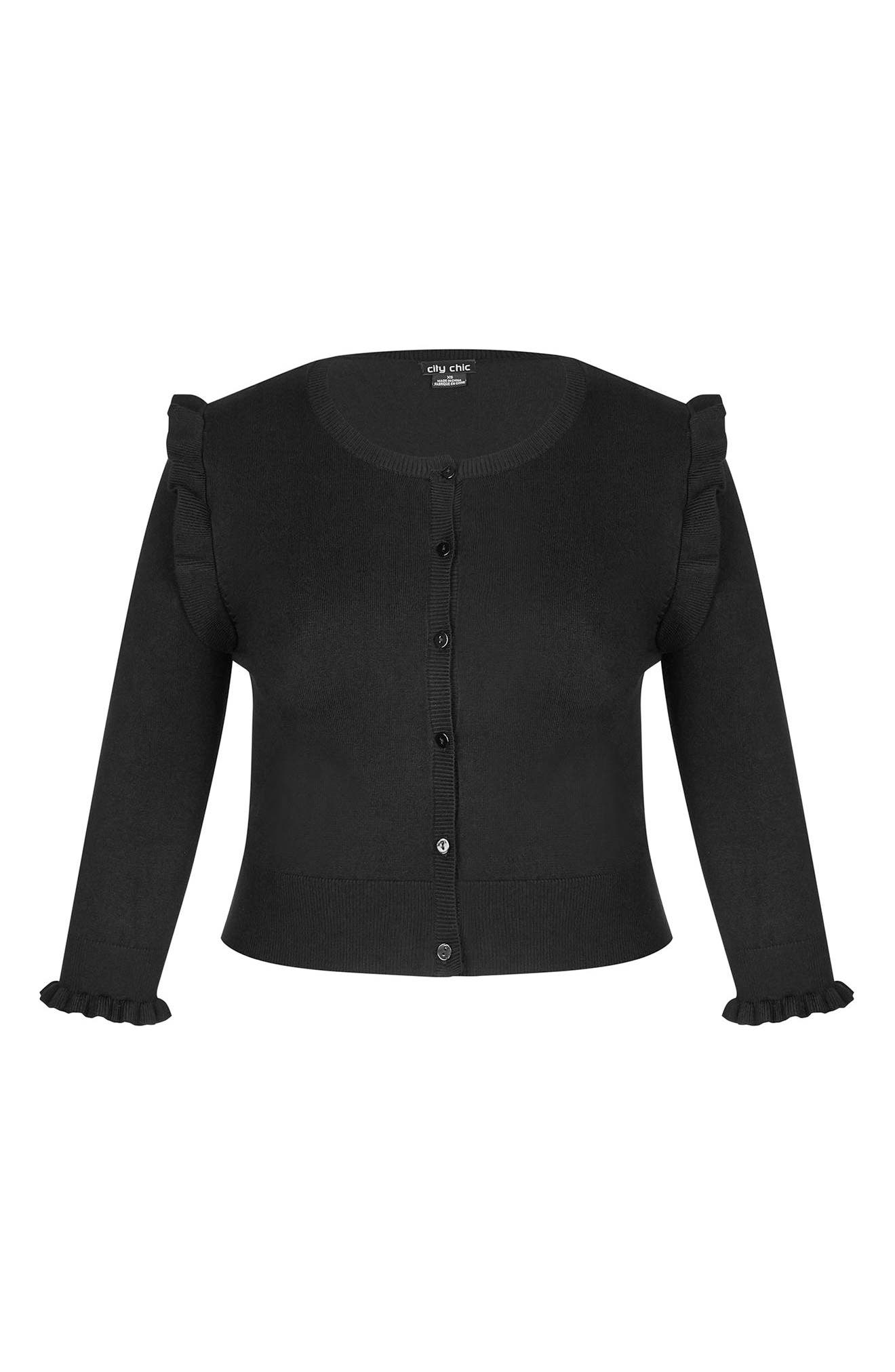 Frill Ride Cardigan,                             Alternate thumbnail 3, color,                             BLACK