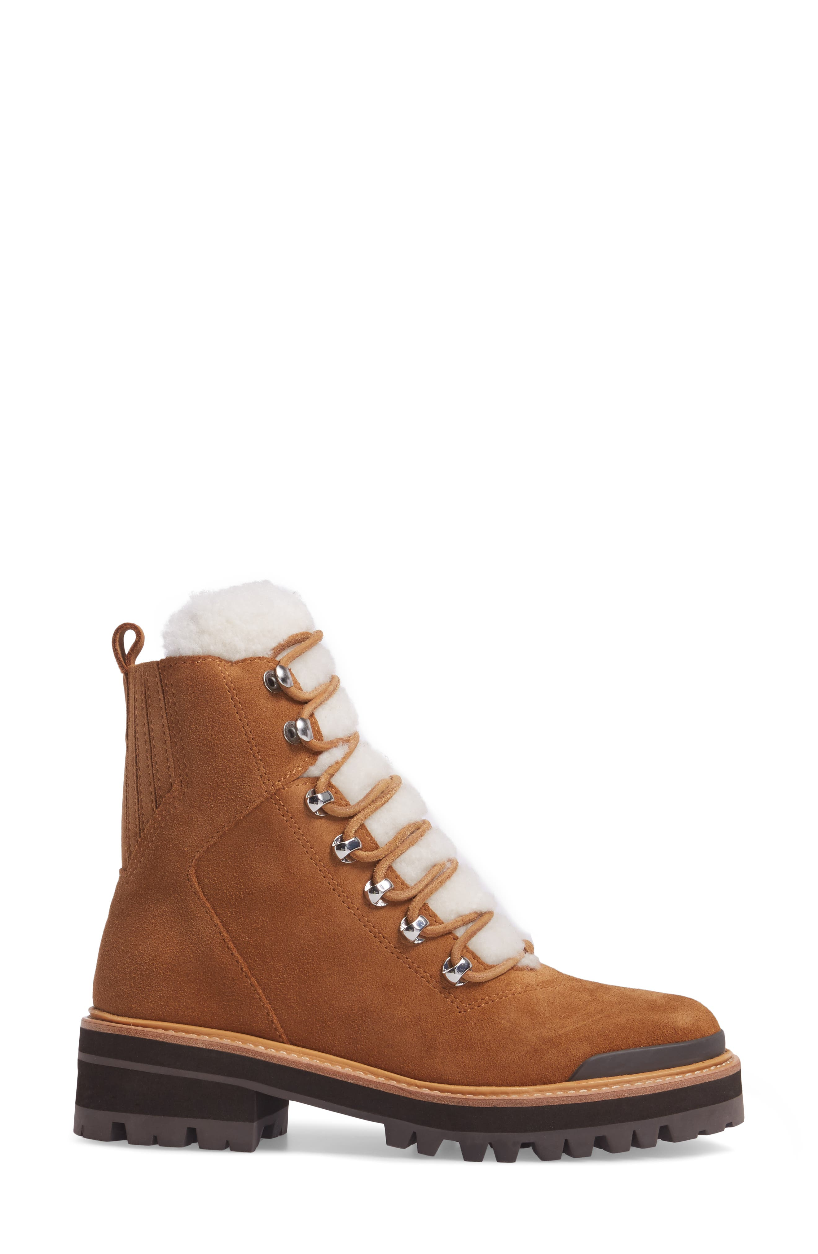 Izzie Genuine Shearling Lace-Up Boot,                             Alternate thumbnail 3, color,                             COGNAC SUEDE
