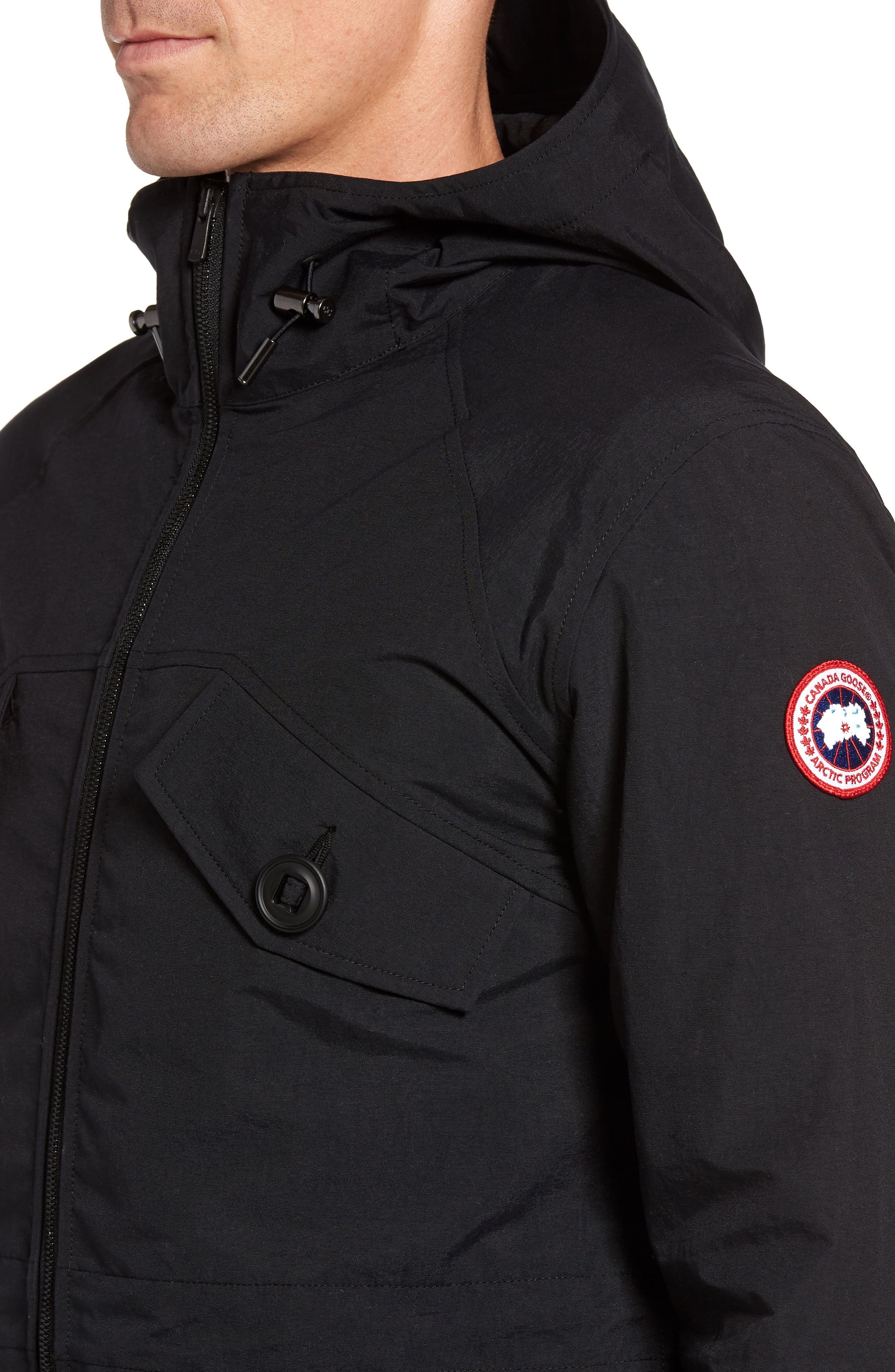 CANADA GOOSE,                             Redstone Slim Fit Hooded Jacket,                             Alternate thumbnail 4, color,                             001