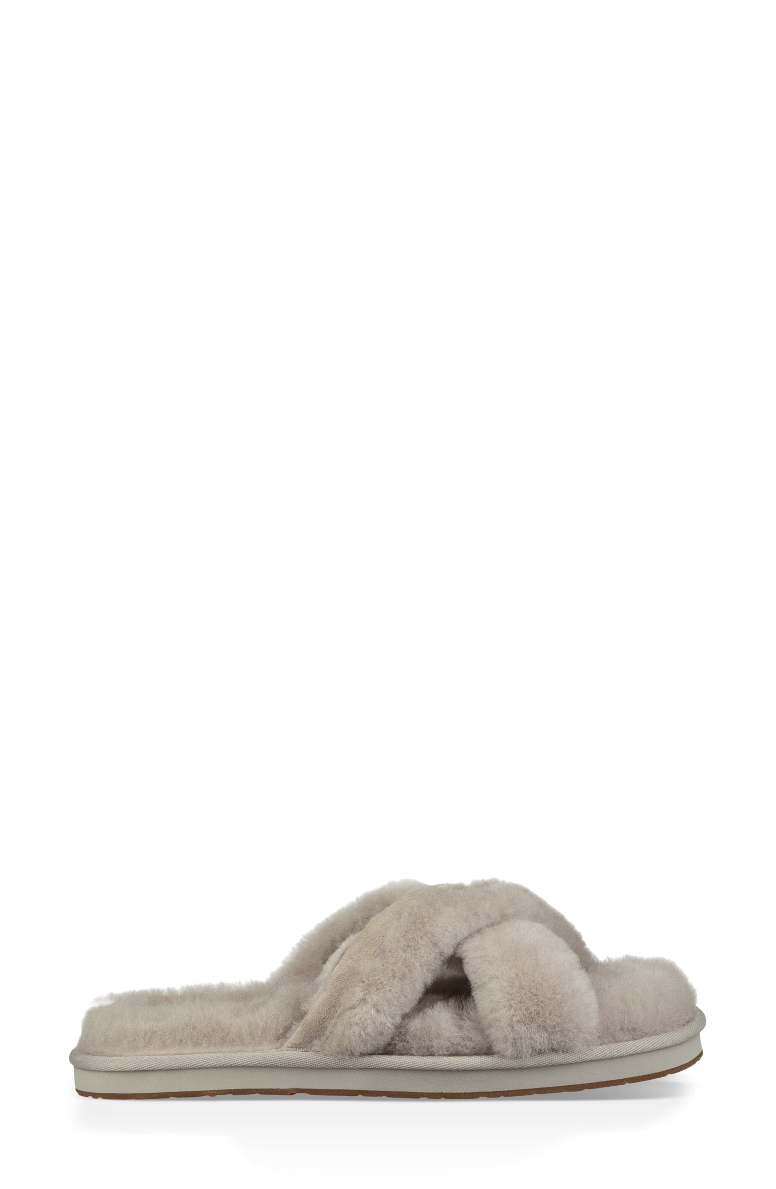 Abela Genuine Shearling Flip Flop,                             Alternate thumbnail 3, color,                             WILLOW WOOL