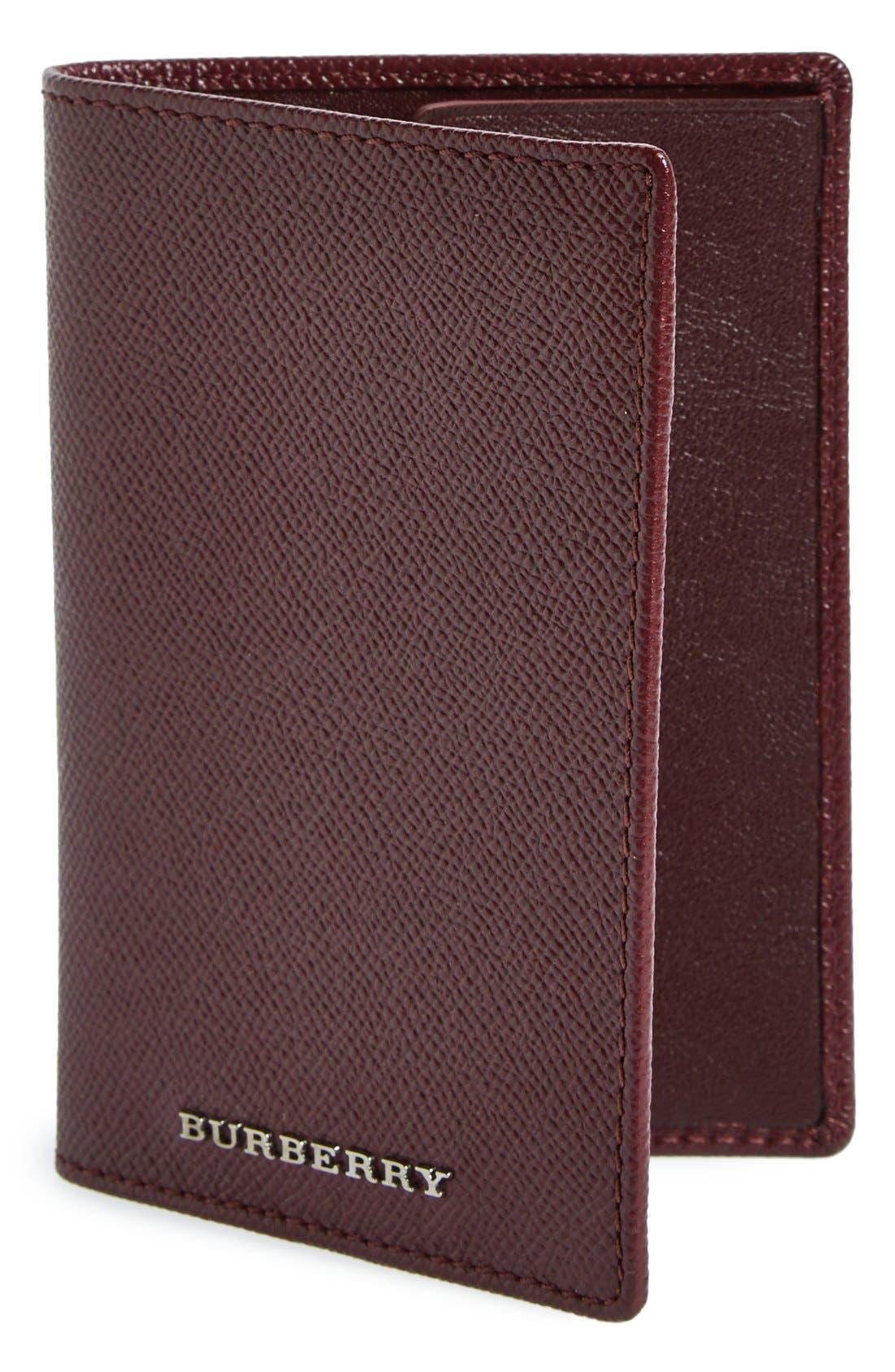 BURBERRY Leather Passport Case, Main, color, 600