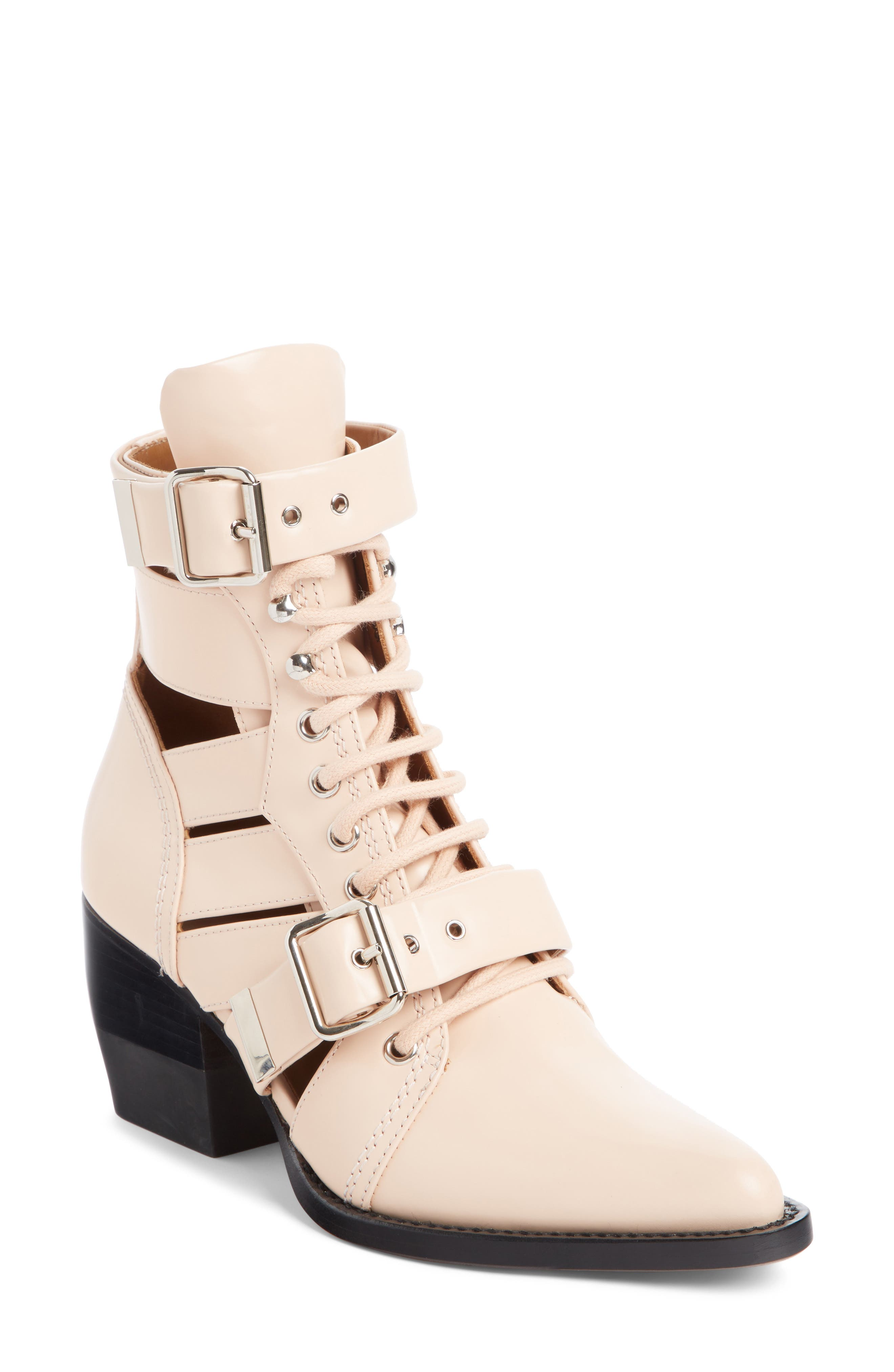 Chloe Rylee Caged Pointy Toe Boot, Coral