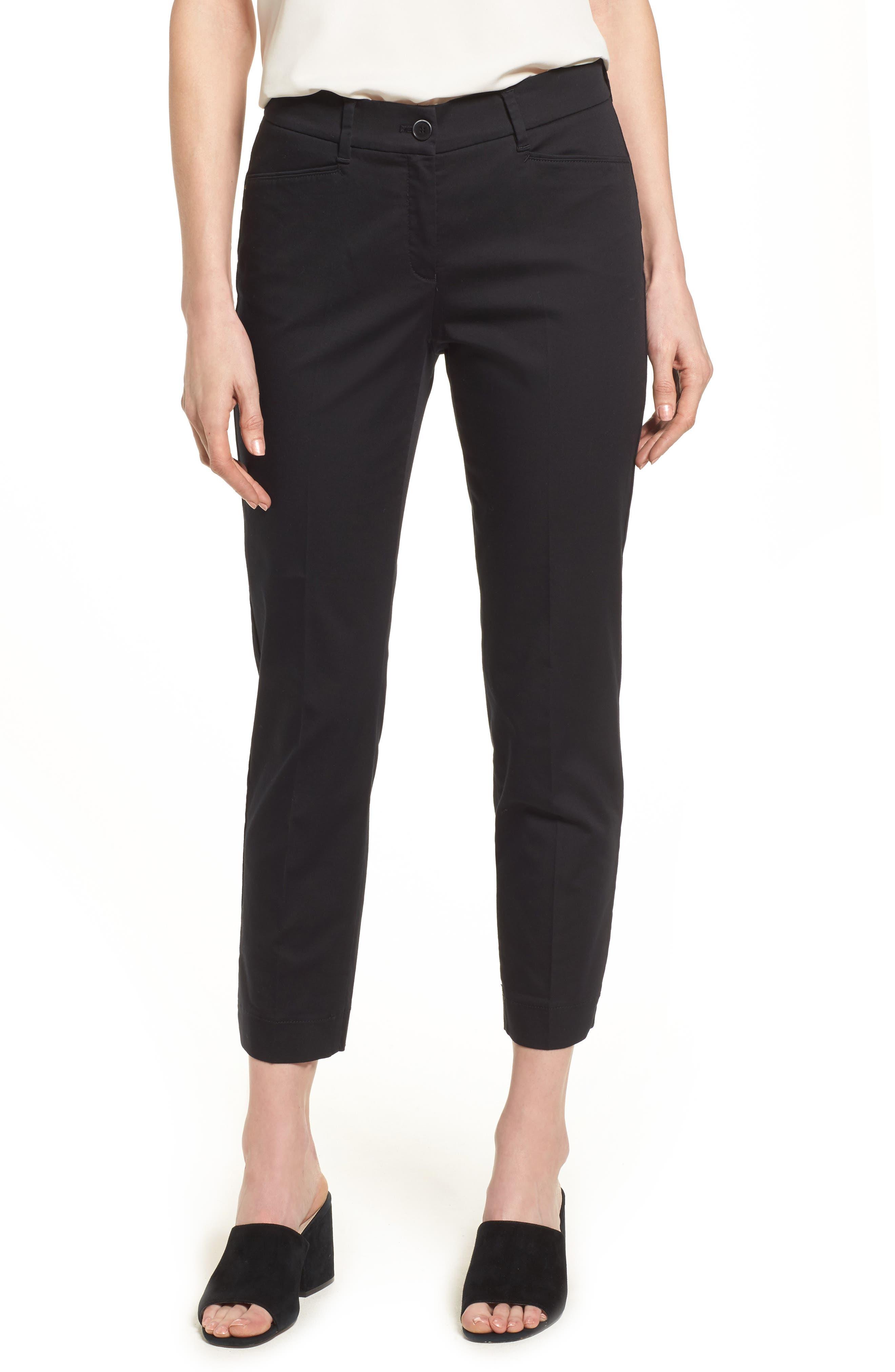 Straight Leg Cropped Trousers,                             Main thumbnail 1, color,                             BLACK
