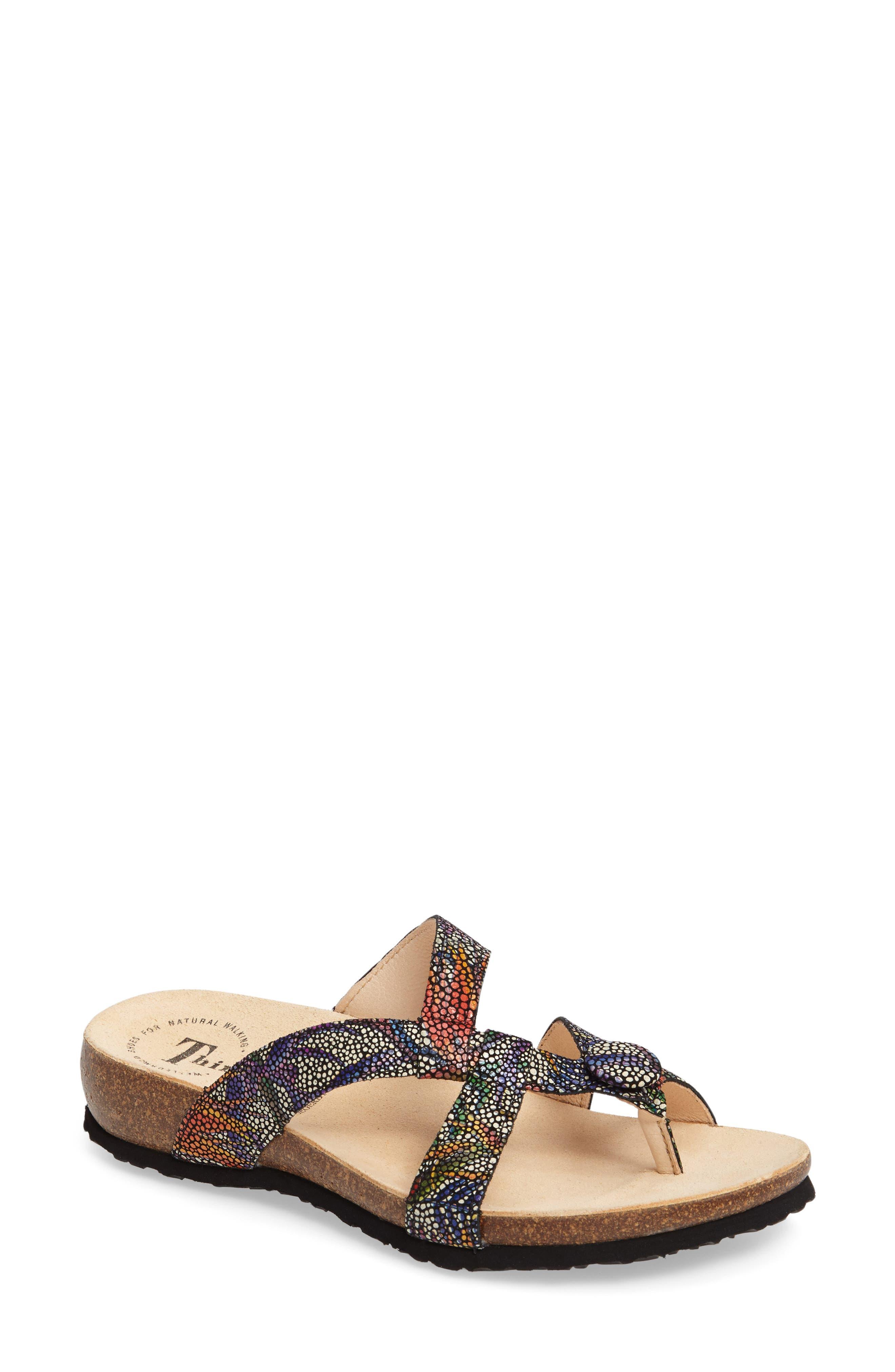 THINK! 'Julia Strappy' Sandal, Main, color, BLACK NUBUCK LEATHER