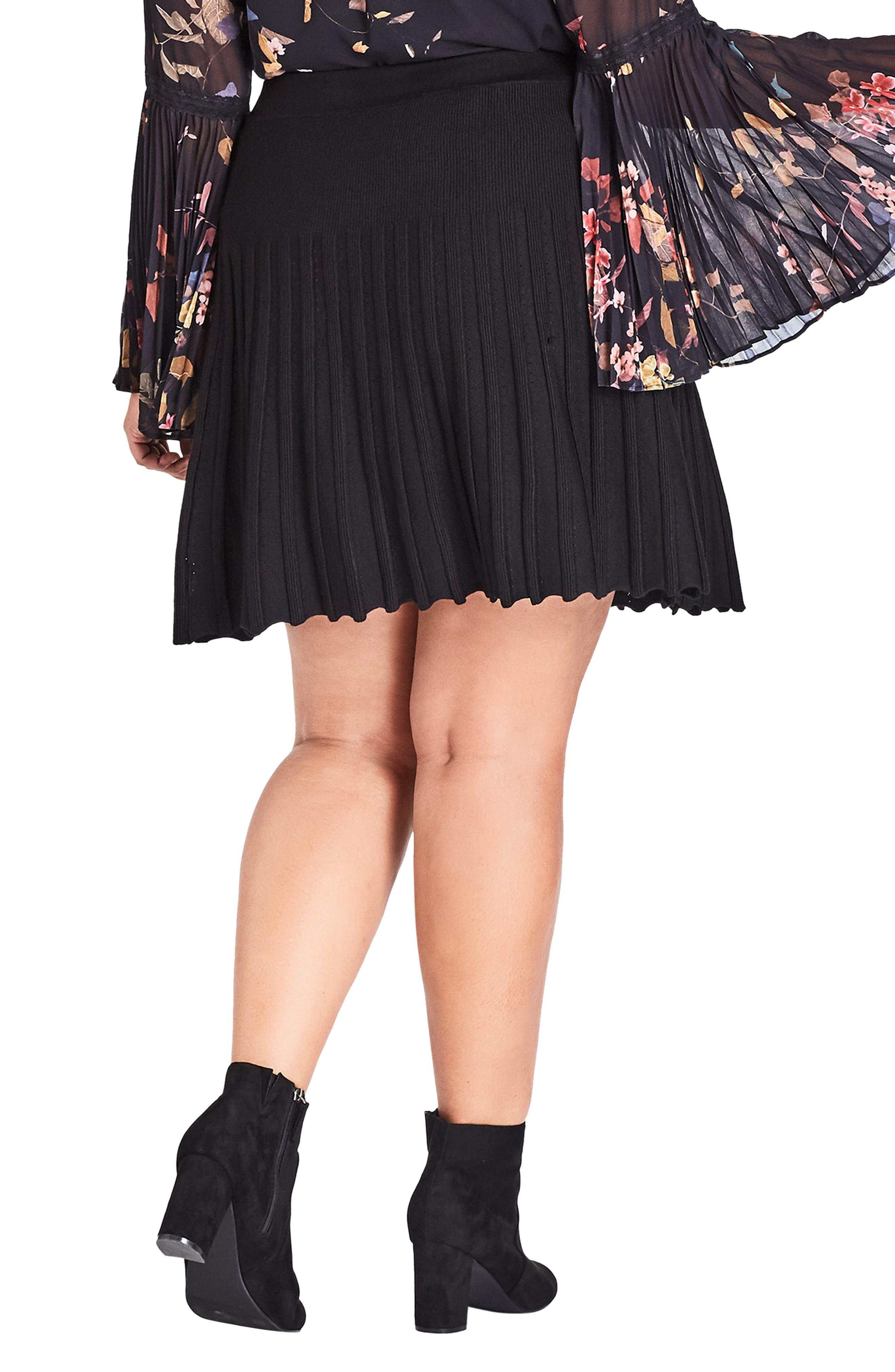 Pleated Knit Skirt,                             Alternate thumbnail 2, color,                             BLACK