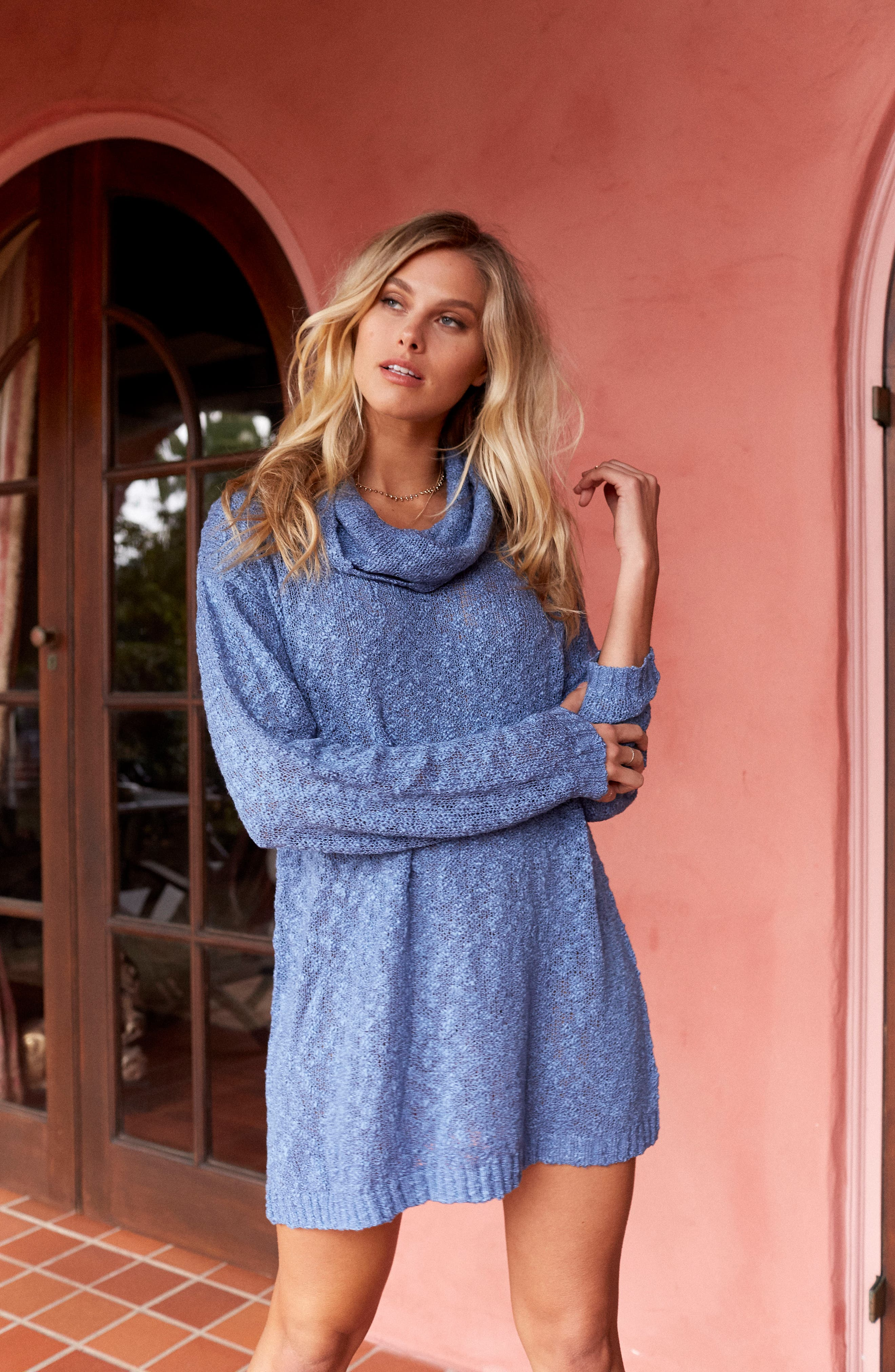 Fading Light Cowl Neck Sweater Dress,                             Alternate thumbnail 9, color,