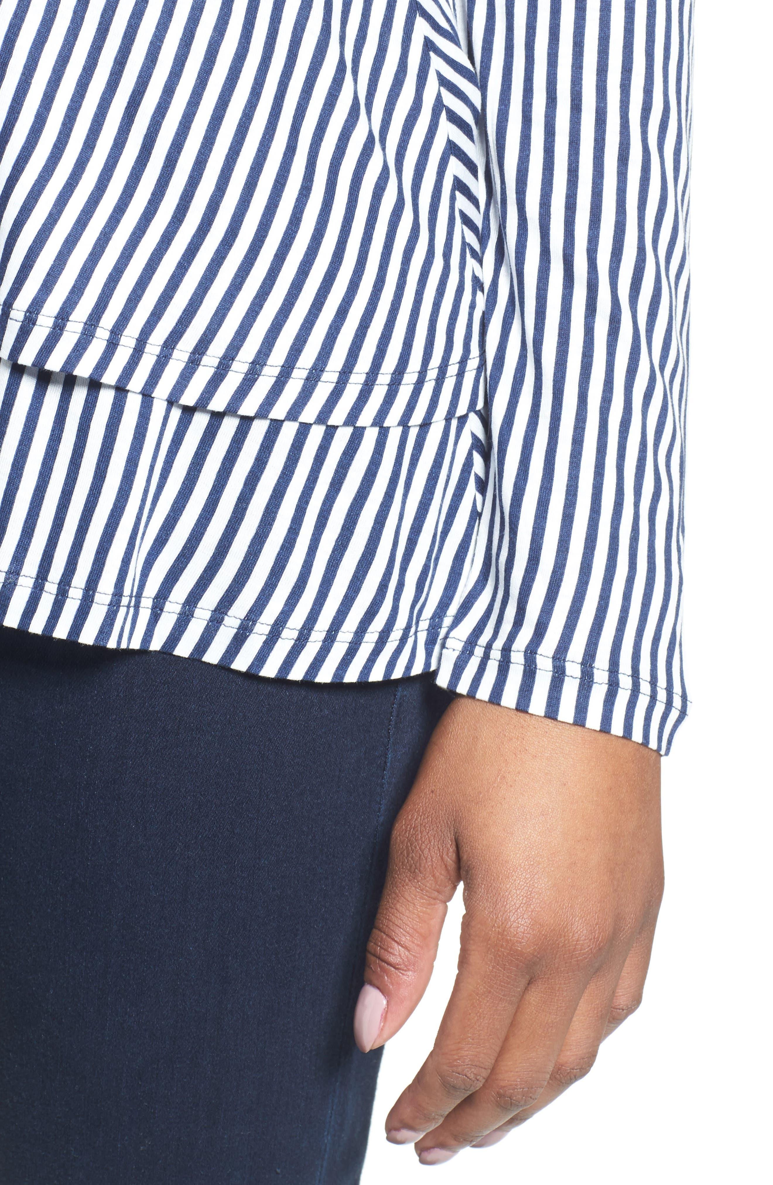 Stripe Layered Hem Top,                             Alternate thumbnail 4, color,                             428