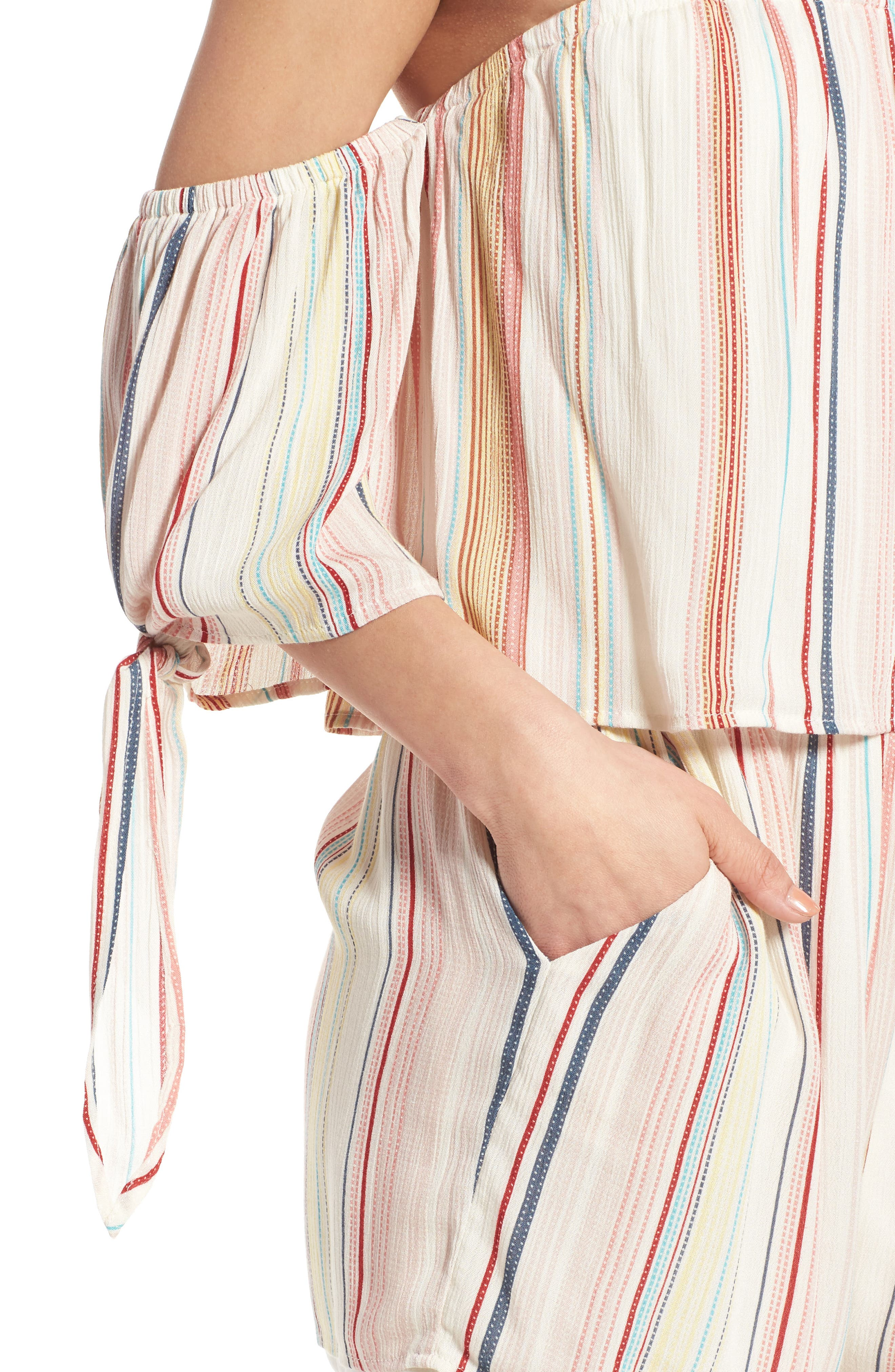 Stripe Off the Shoulder Romper,                             Alternate thumbnail 4, color,                             900