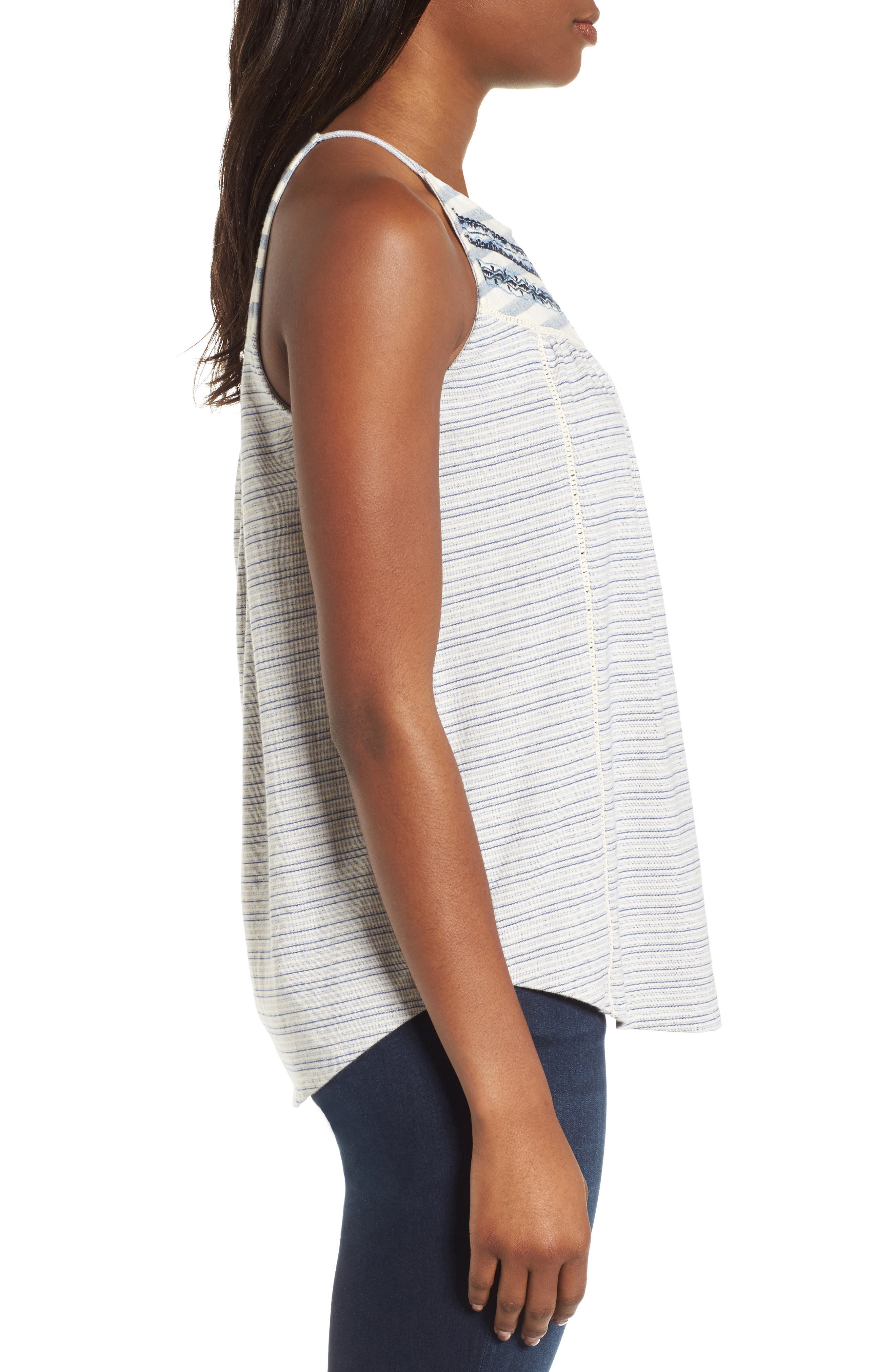 Stripe Mix Embroidered Tank,                             Alternate thumbnail 3, color,                             400