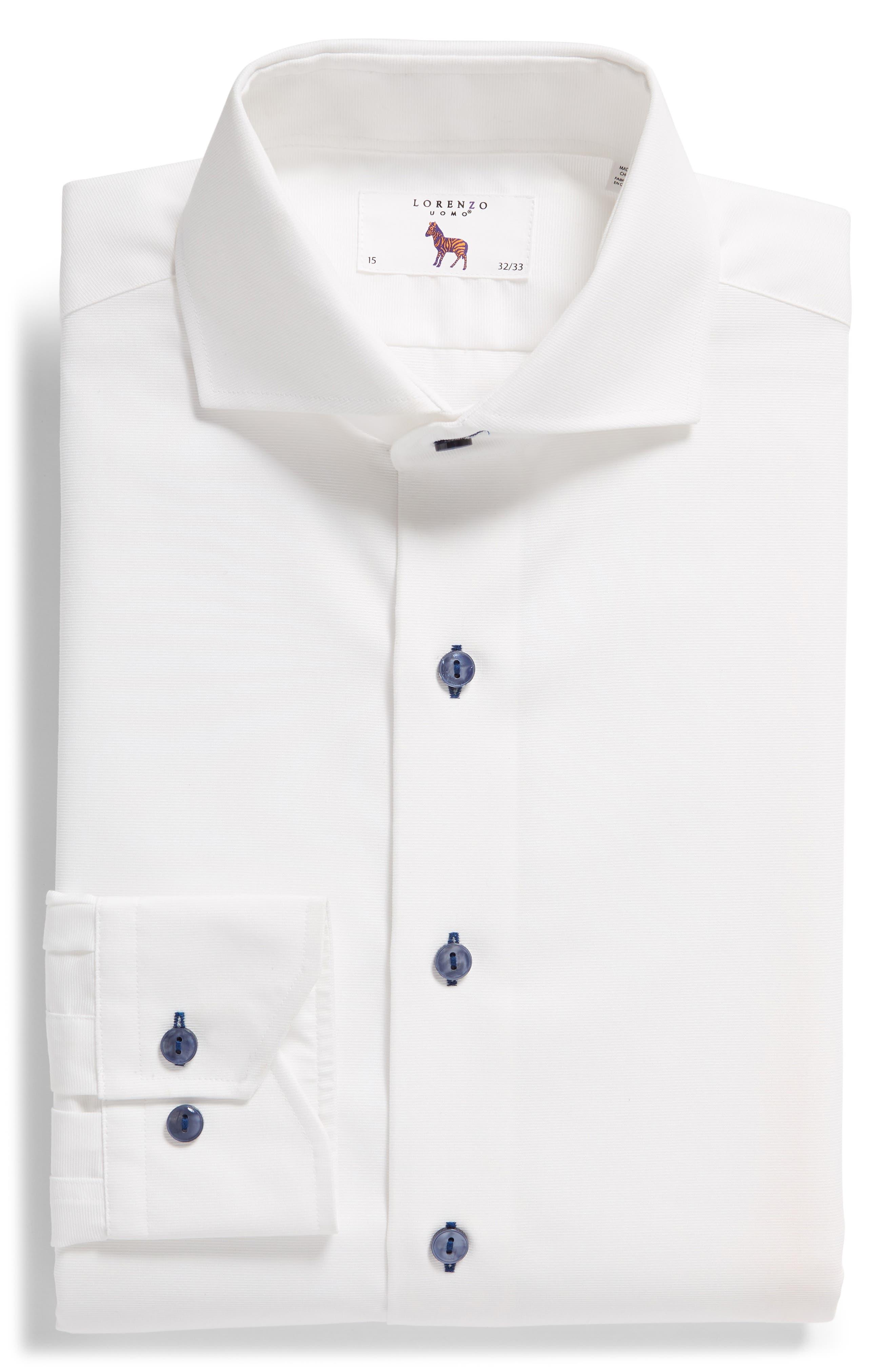 Trim Fit Solid Dress Shirt,                             Alternate thumbnail 5, color,                             100