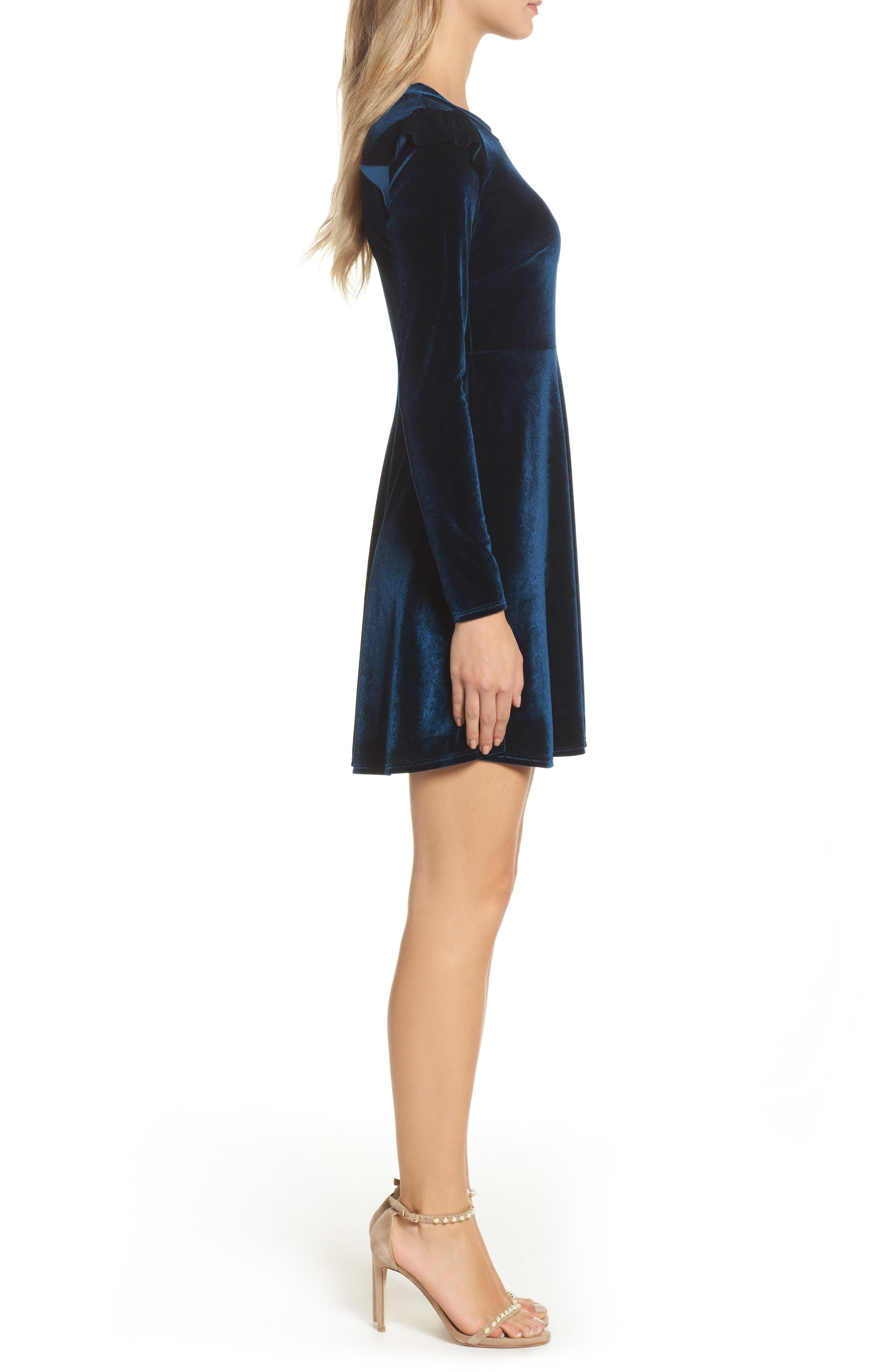 Velvet Fit & Flare Dress,                             Alternate thumbnail 5, color,