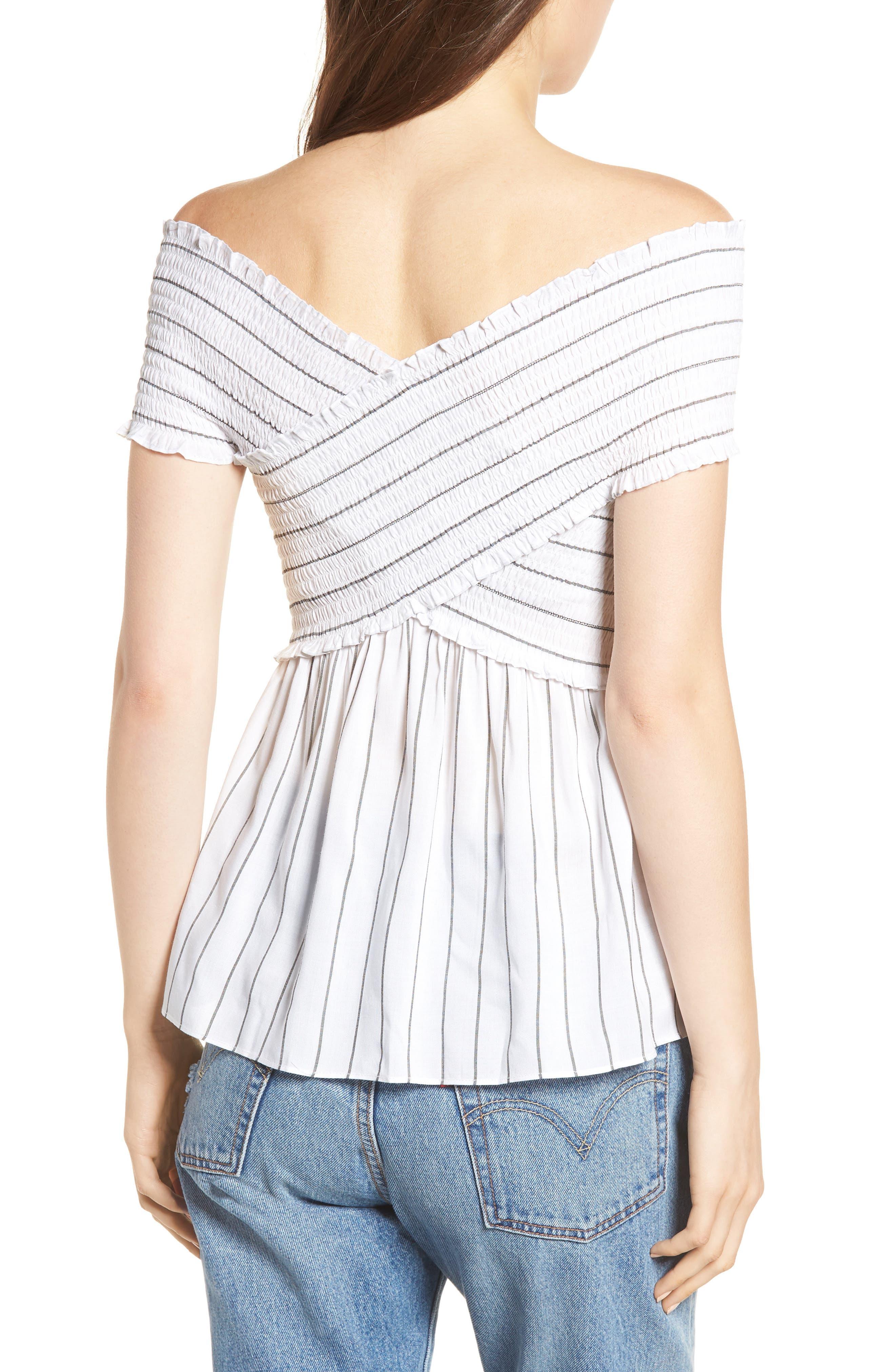 Stripe Off the Shoulder Top,                             Alternate thumbnail 2, color,                             100