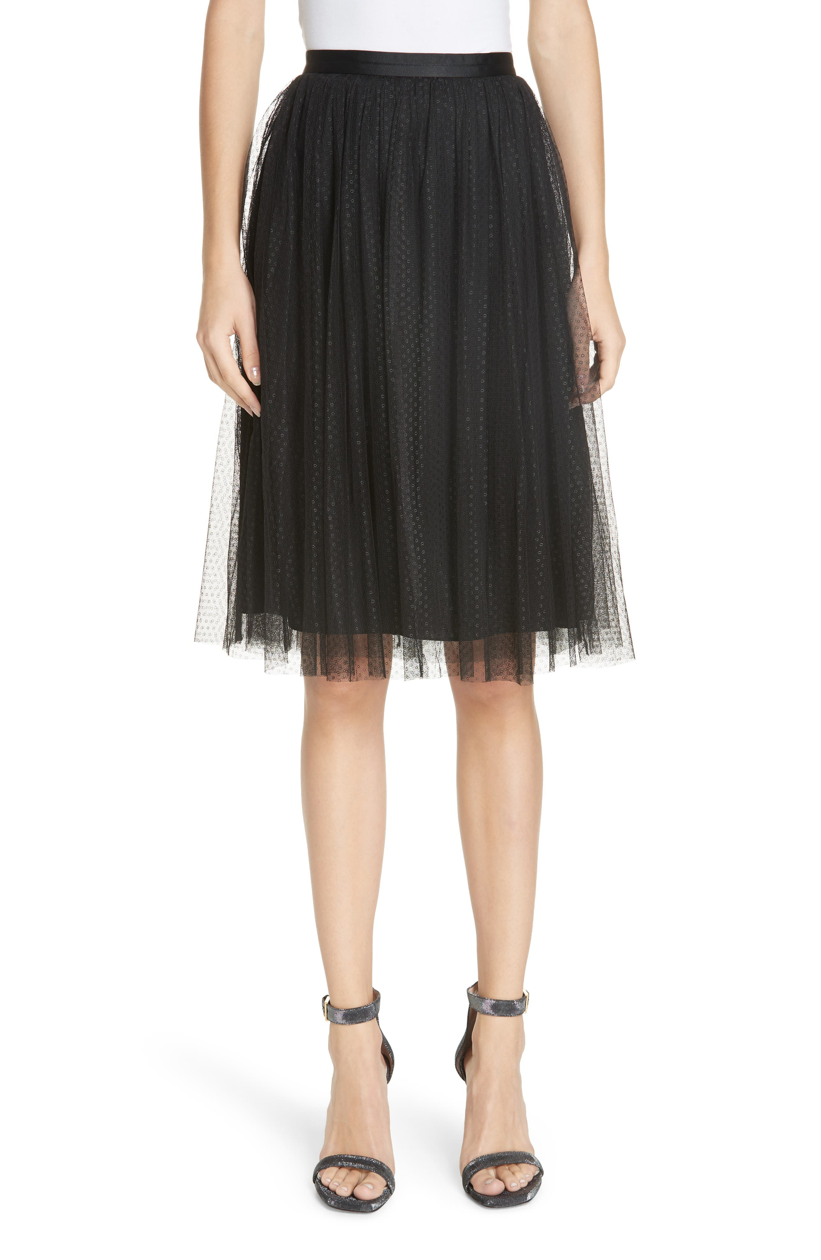 Dotted Tulle Skirt,                             Main thumbnail 1, color,                             001