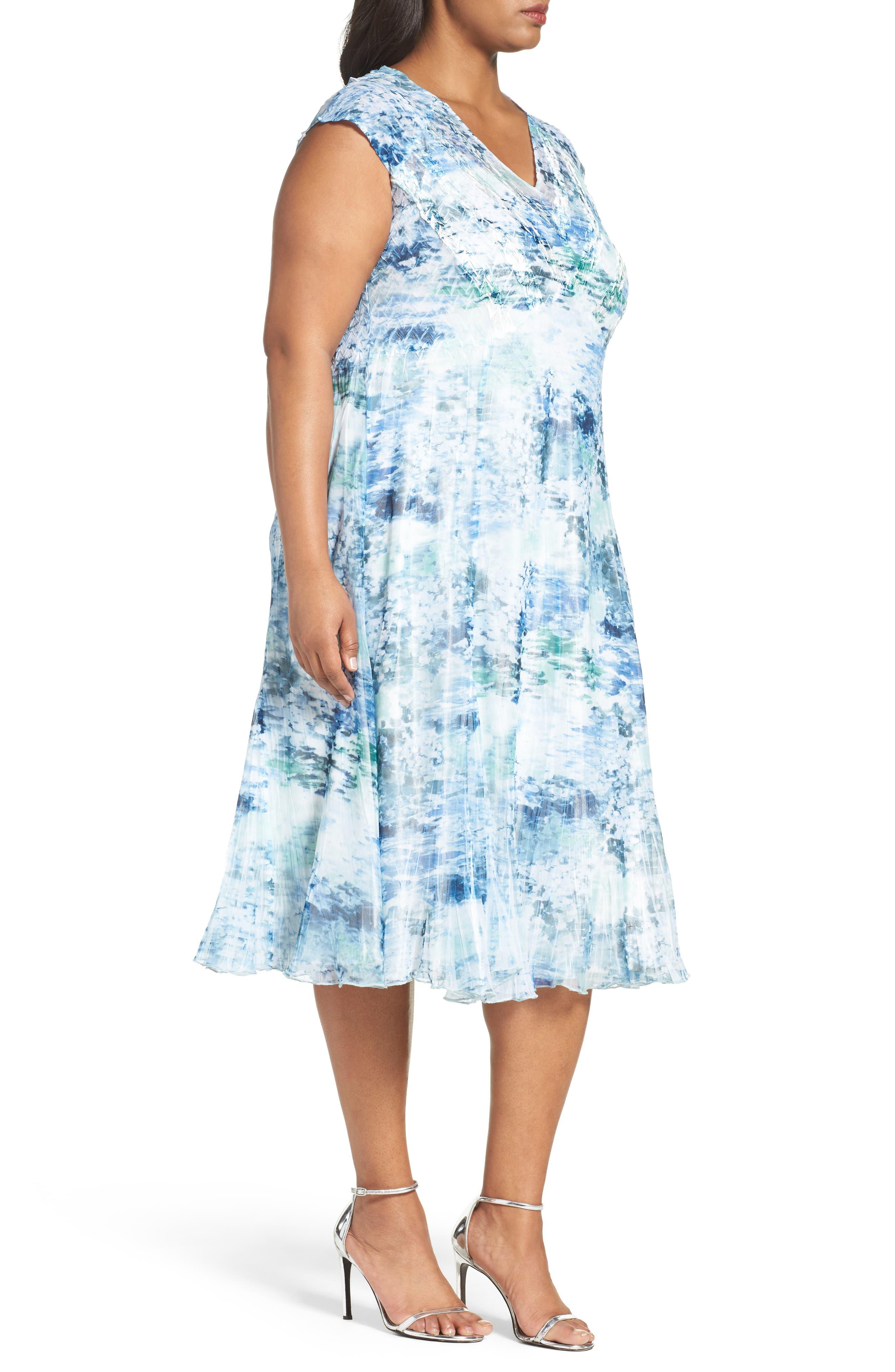 Print Chiffon A-Line Dress,                             Alternate thumbnail 3, color,