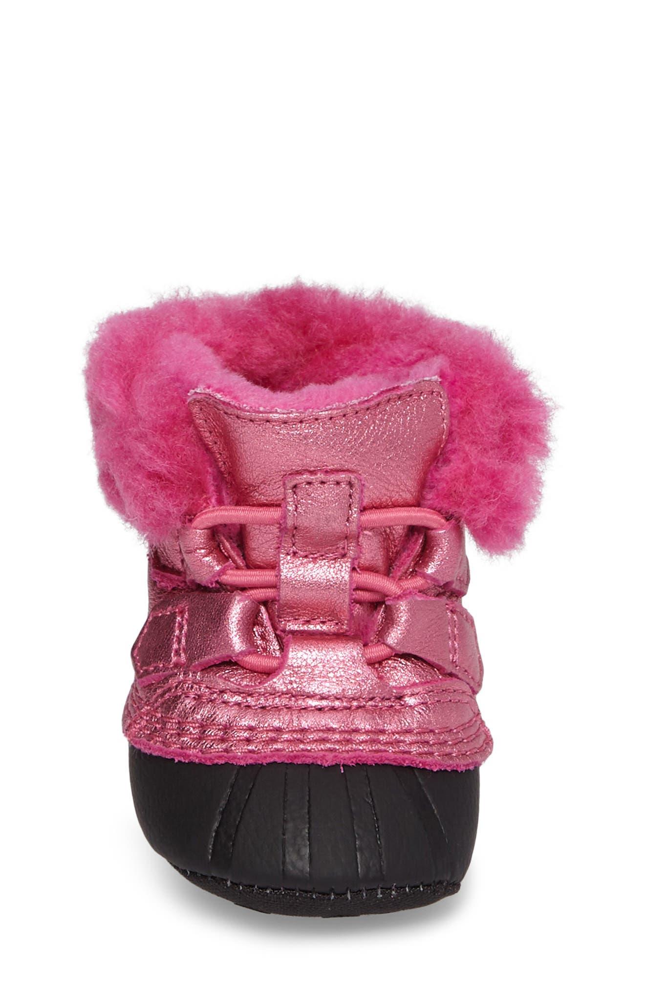Caribootie Genuine Shearling Crib Shoe,                             Alternate thumbnail 23, color,