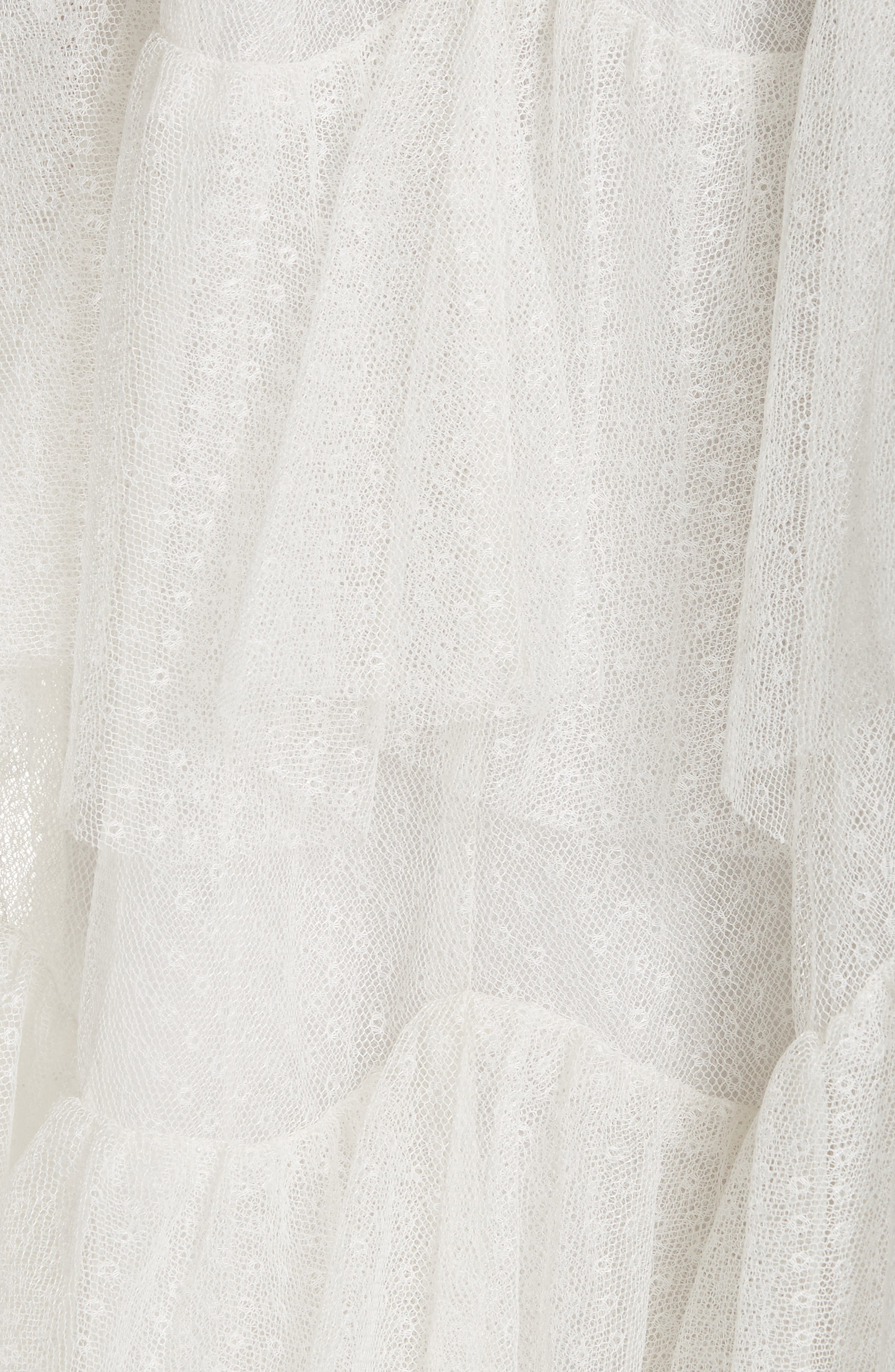 Tiered Tea Length Tulle Dress,                             Alternate thumbnail 5, color,                             PEARL