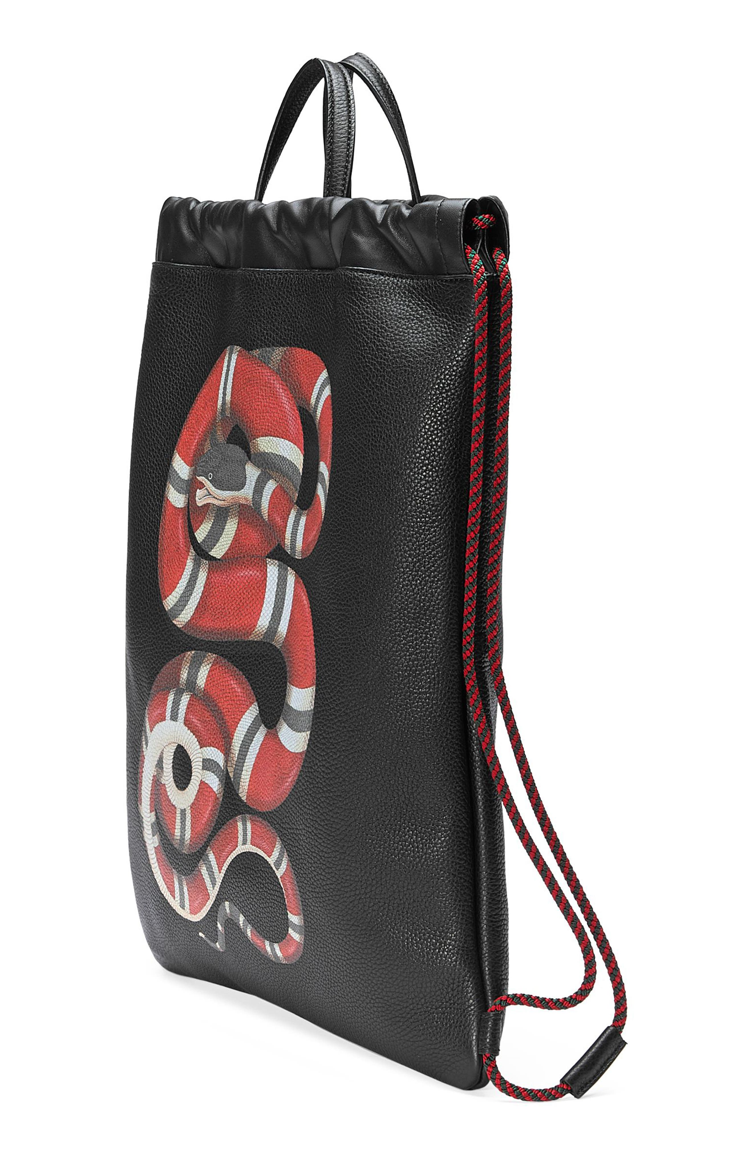 Kingsnake Leather Drawstring Backpack,                             Alternate thumbnail 4, color,                             BLACK