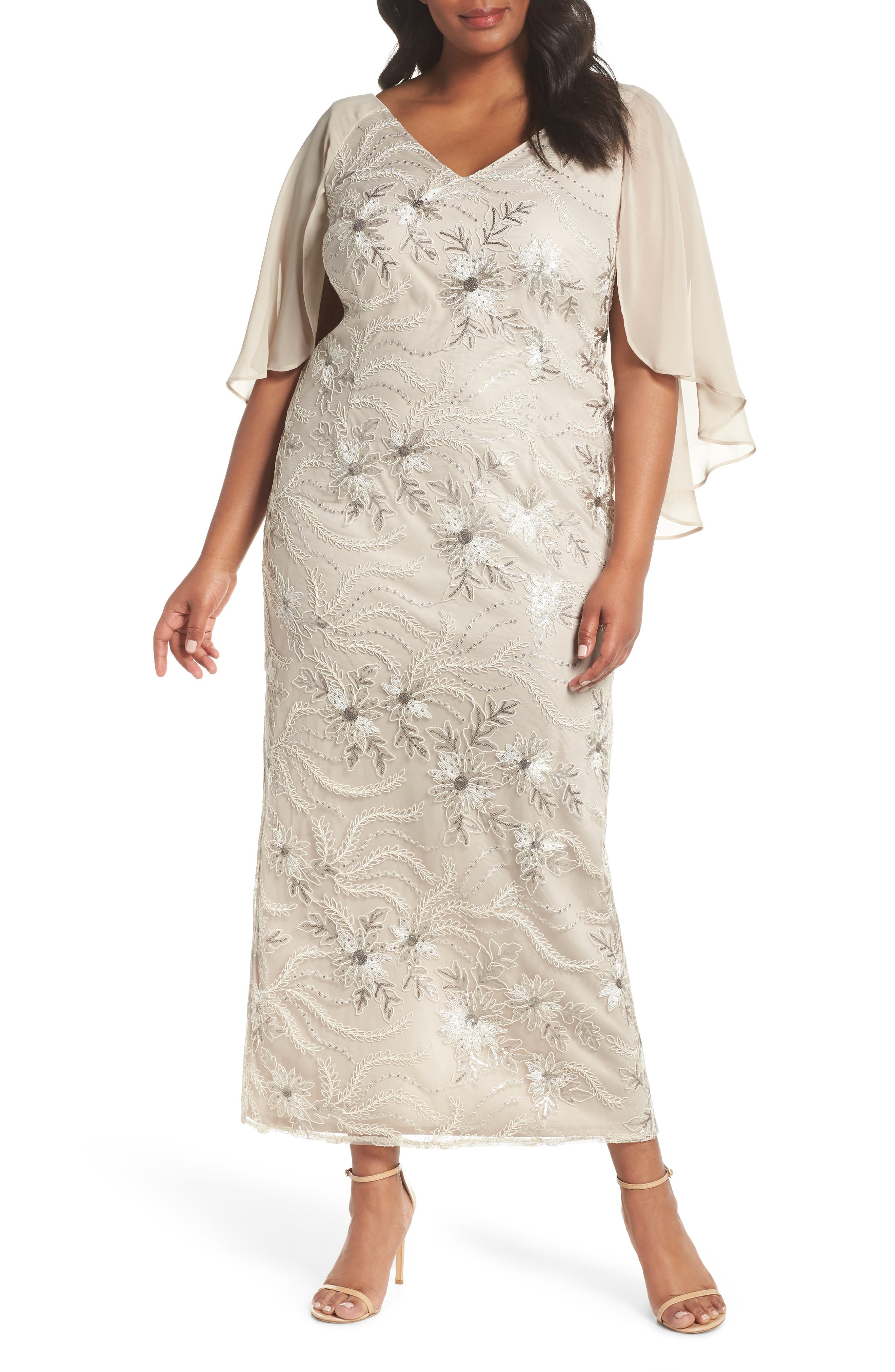 Embellished Capelet Gown,                             Main thumbnail 1, color,                             250