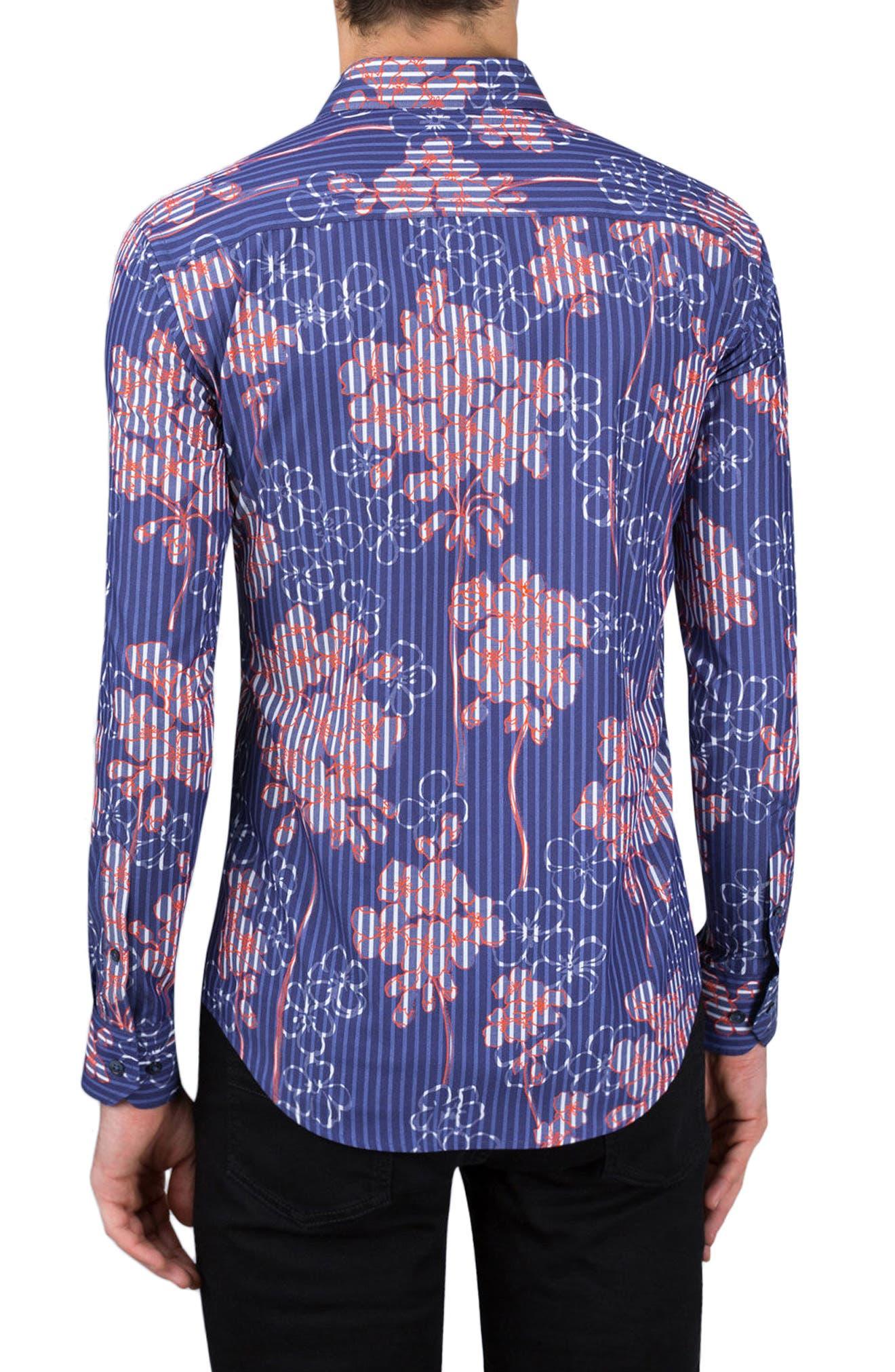 Shaped Fit Floral Stripe Sport Shirt,                             Alternate thumbnail 2, color,                             411