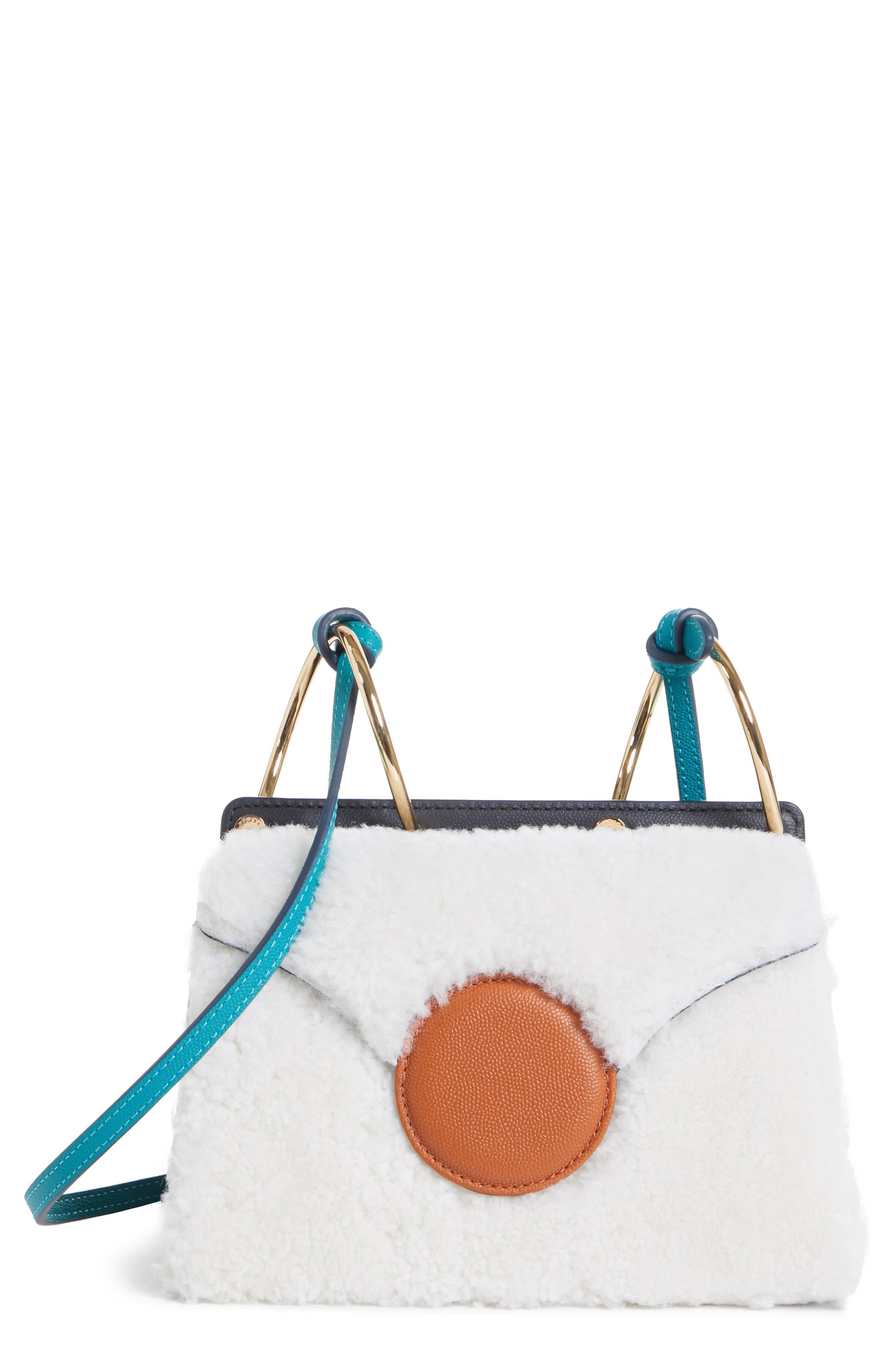 Mini Phoebe Leather Bag,                             Main thumbnail 1, color,                             CURLY SHEARLING WHITE-MARINE