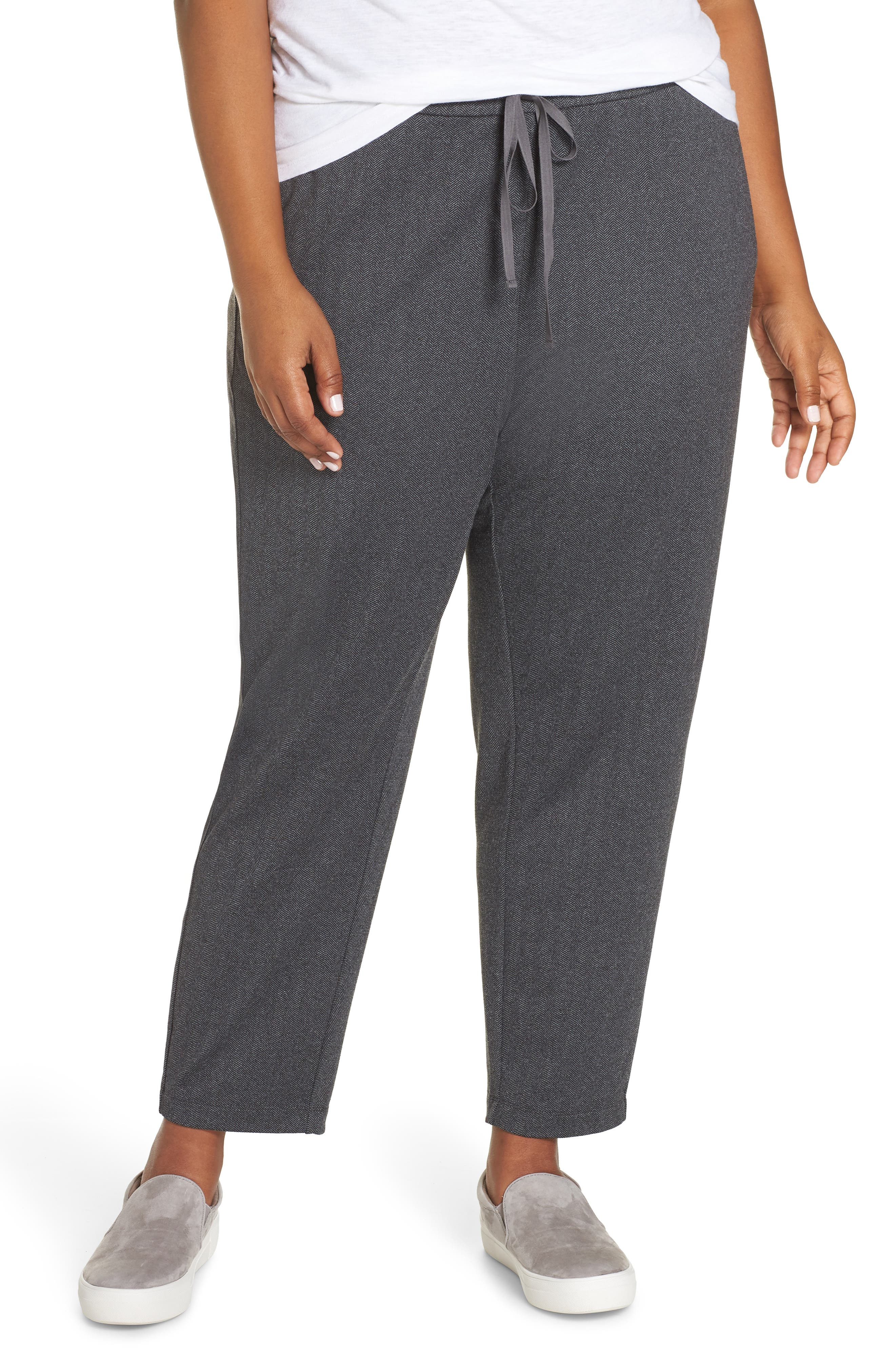 EILEEN FISHER Slouchy Drawstring Pants, Main, color, 021