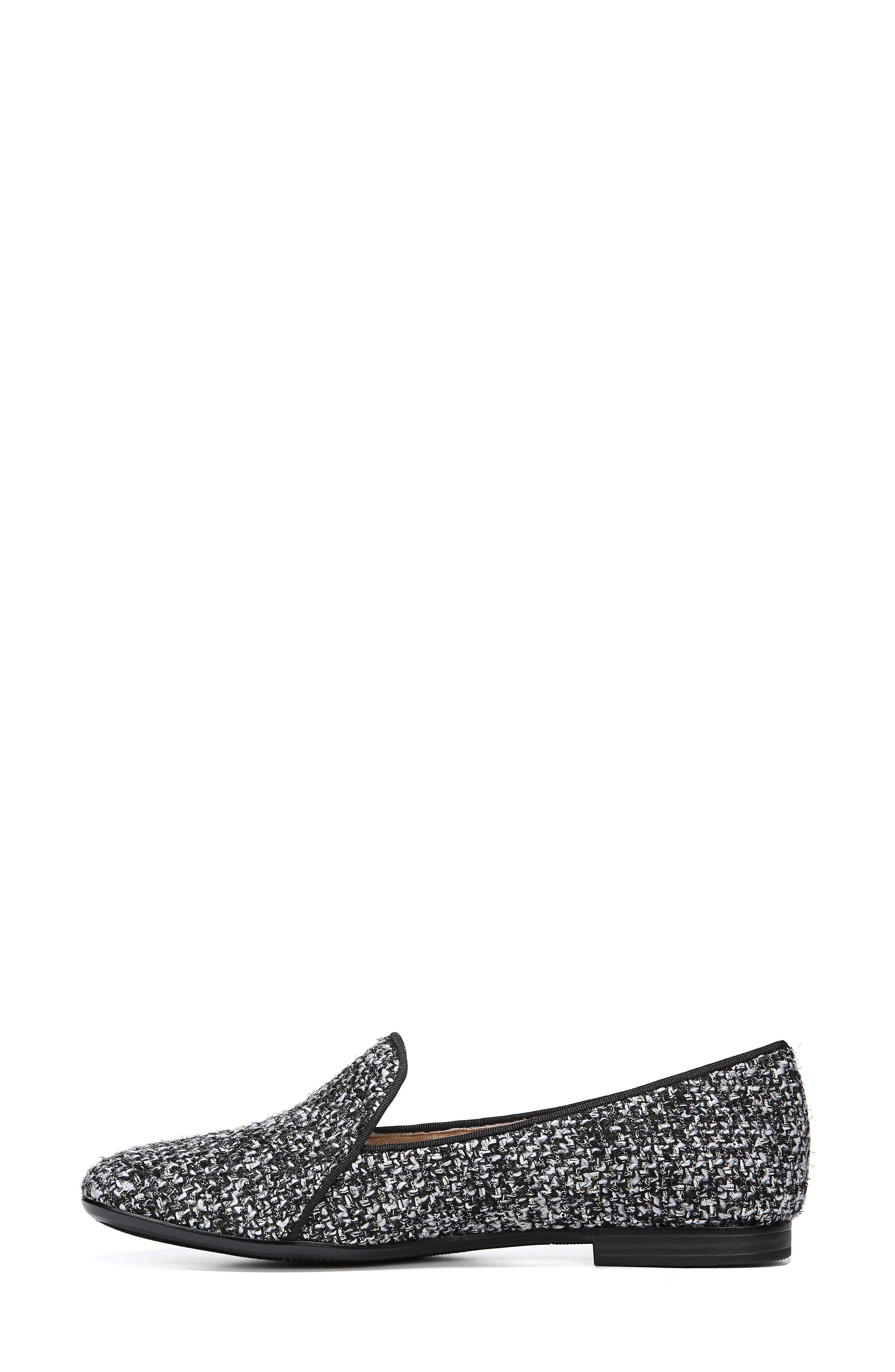 Emiline 2 Loafer,                             Alternate thumbnail 7, color,                             BLACK/ WHITE TWEED FABRIC