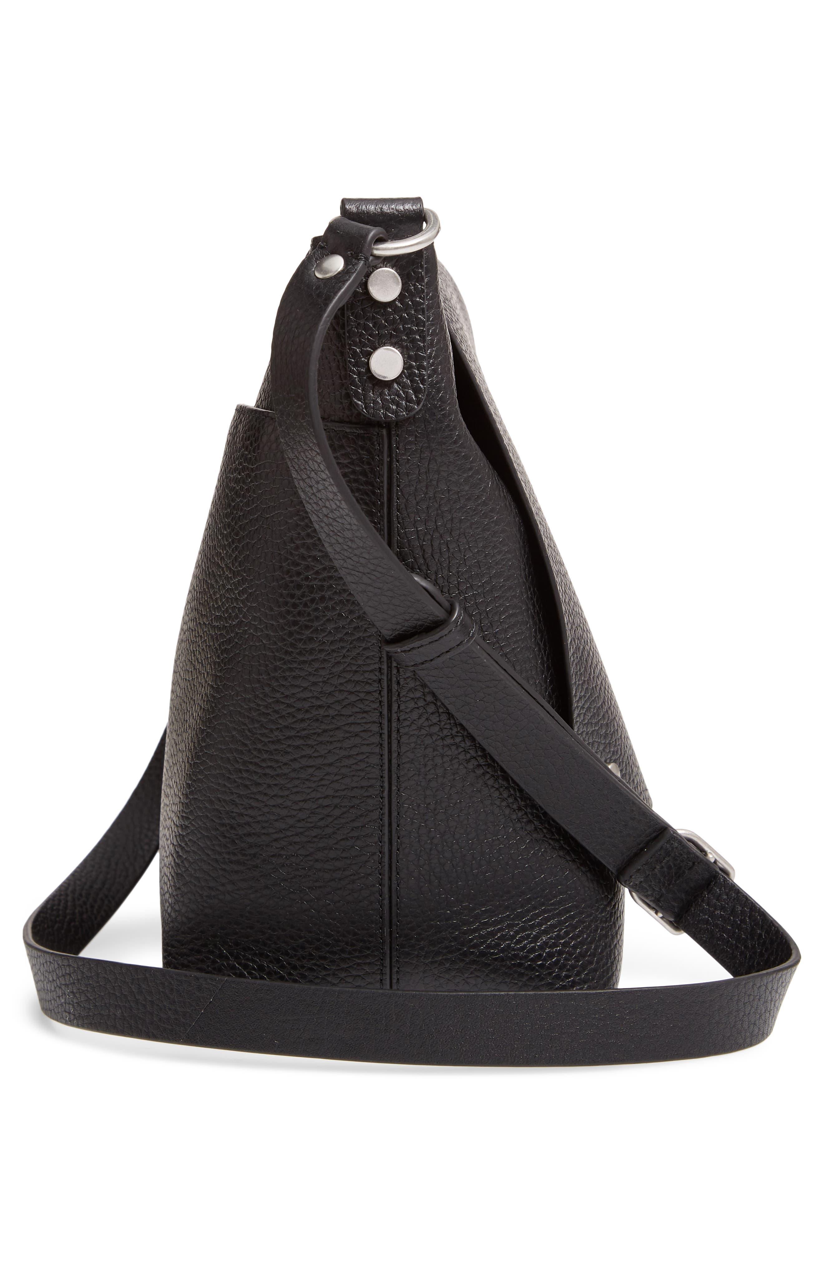 Nevyn Leather Messenger Bag,                             Alternate thumbnail 5, color,                             BLACK