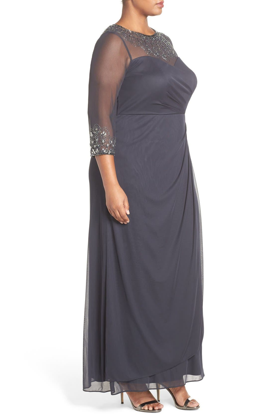 Beaded Illusion Neck A-Line Gown,                             Alternate thumbnail 10, color,