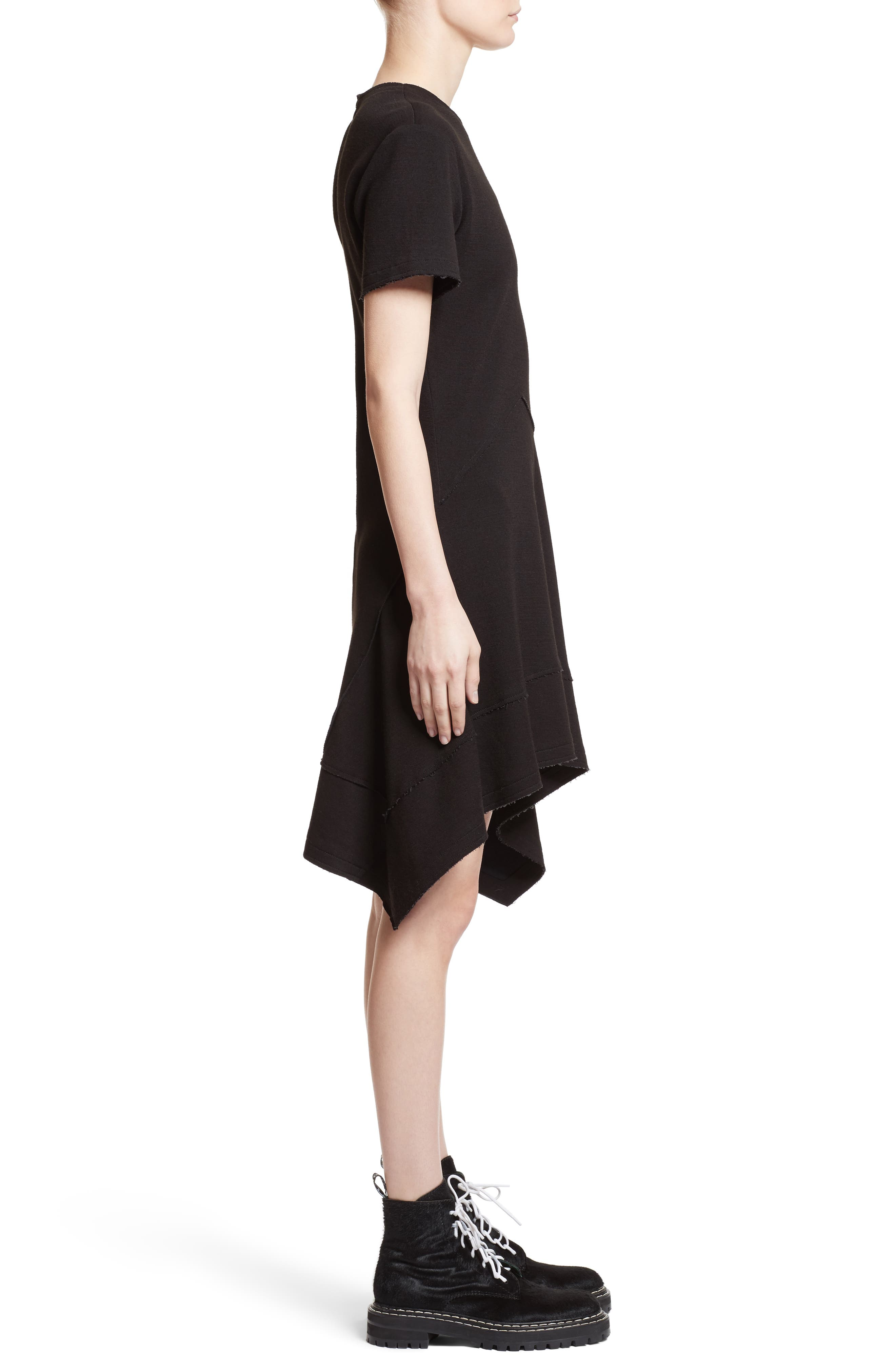 Asymmetrical Fit & Flare Dress,                             Alternate thumbnail 3, color,                             001