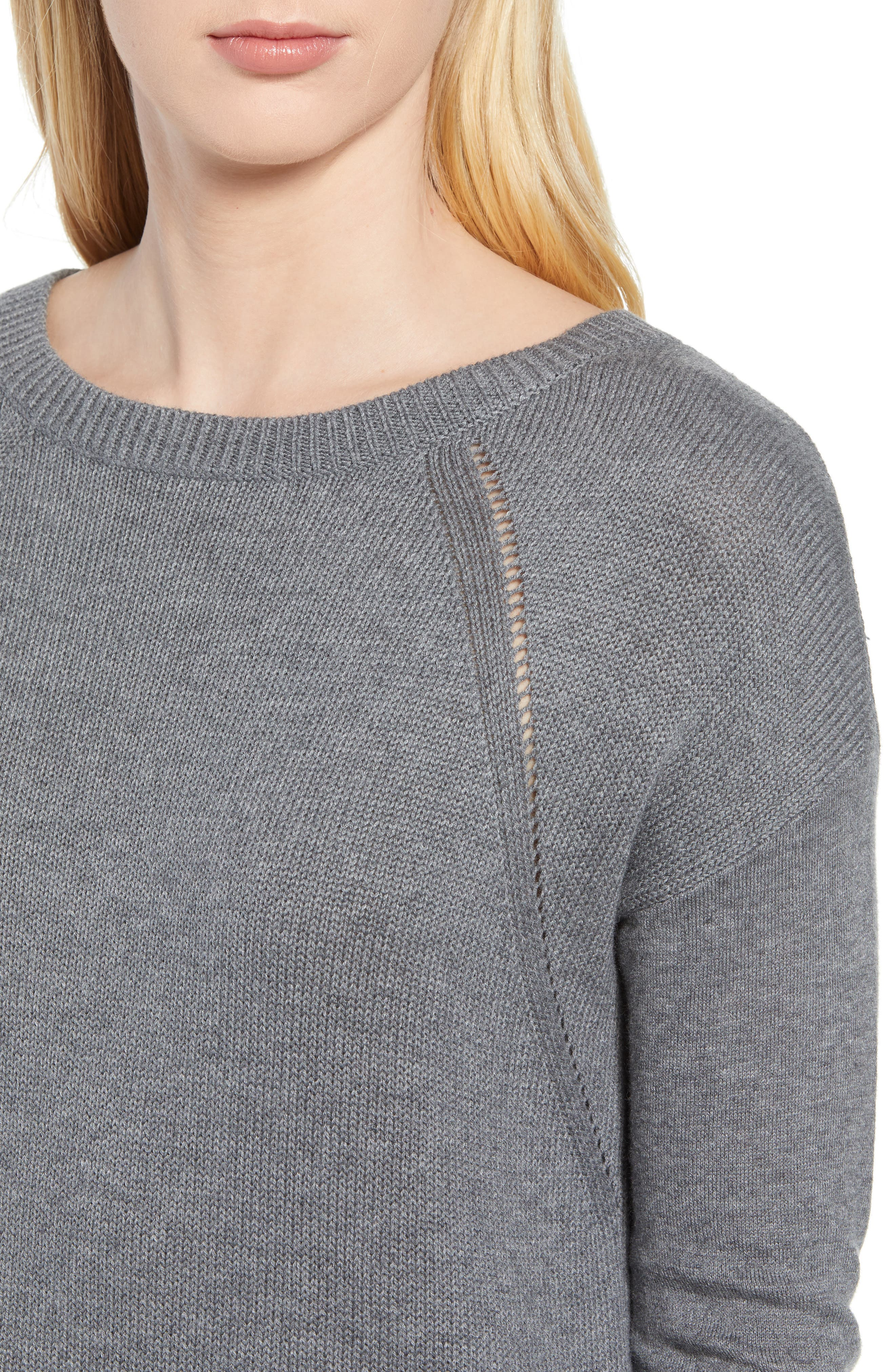 Button Back Tunic Sweater,                             Alternate thumbnail 4, color,                             GREY DARK HEATHER