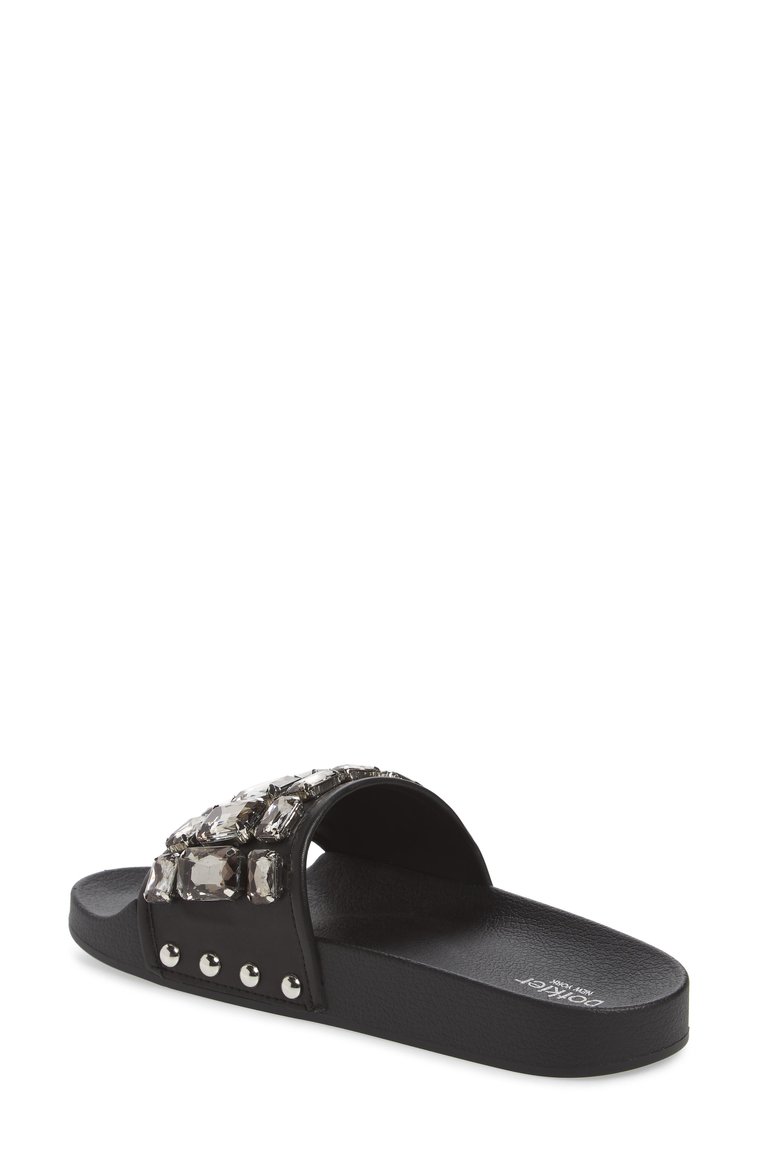 Freda Crystal Slide Sandal,                             Alternate thumbnail 2, color,                             BLACK LEATHER