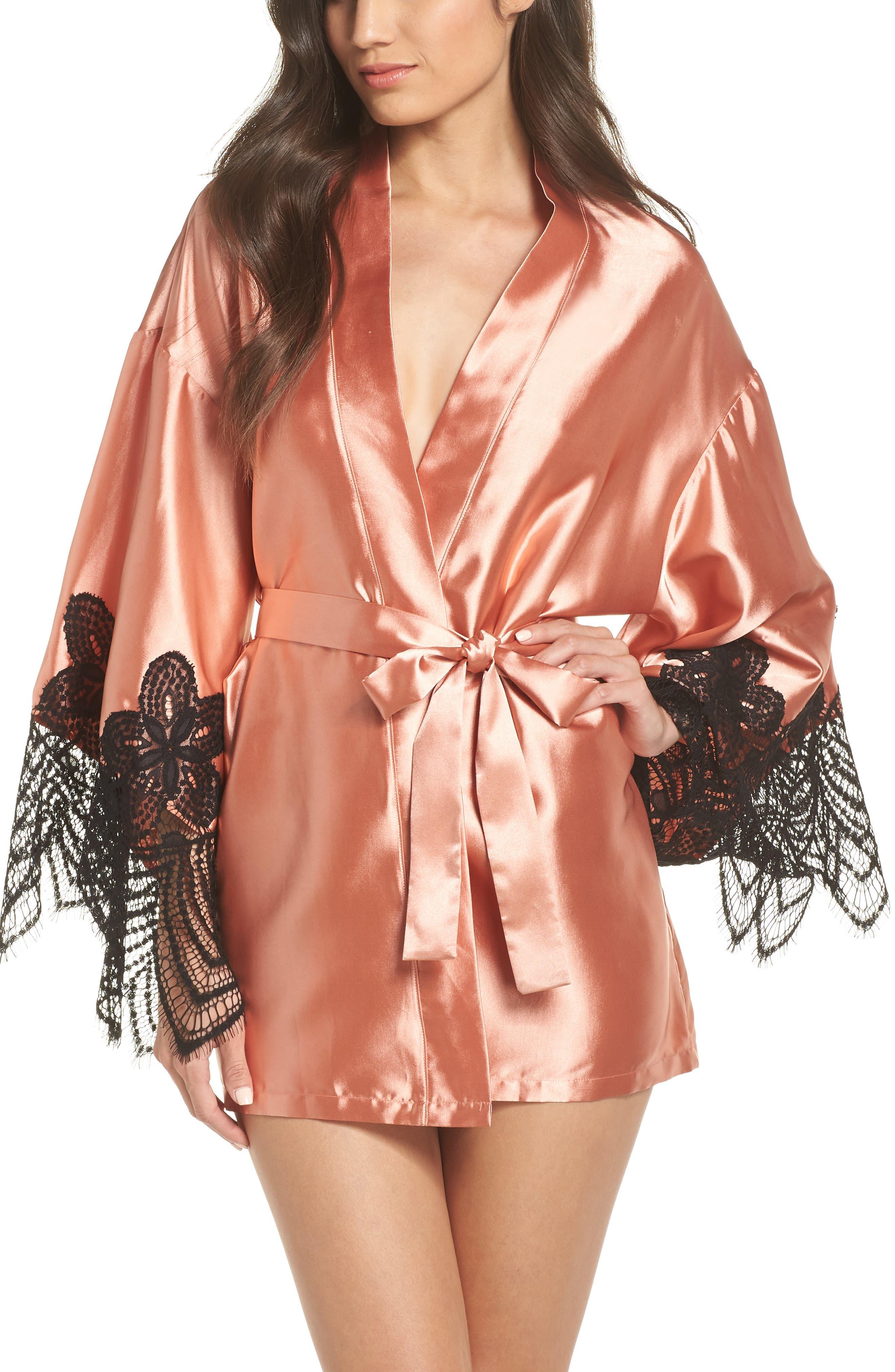 Drama Lace Trim Satin Robe,                         Main,                         color, CAMEO BROWN/ BLACK