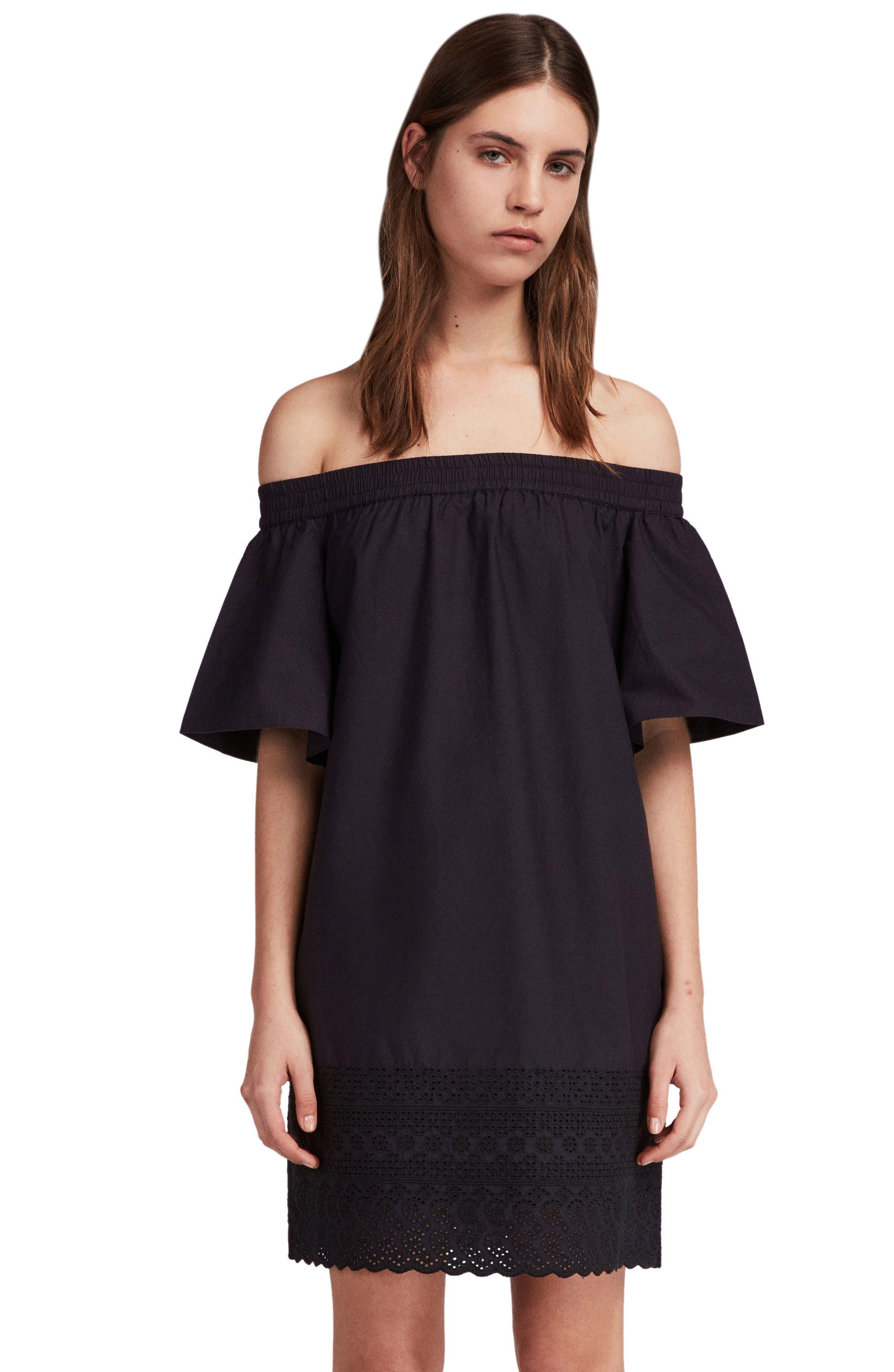 Livia Trixi Off the Shoulder Cotton Dress,                             Alternate thumbnail 3, color,                             BLACK
