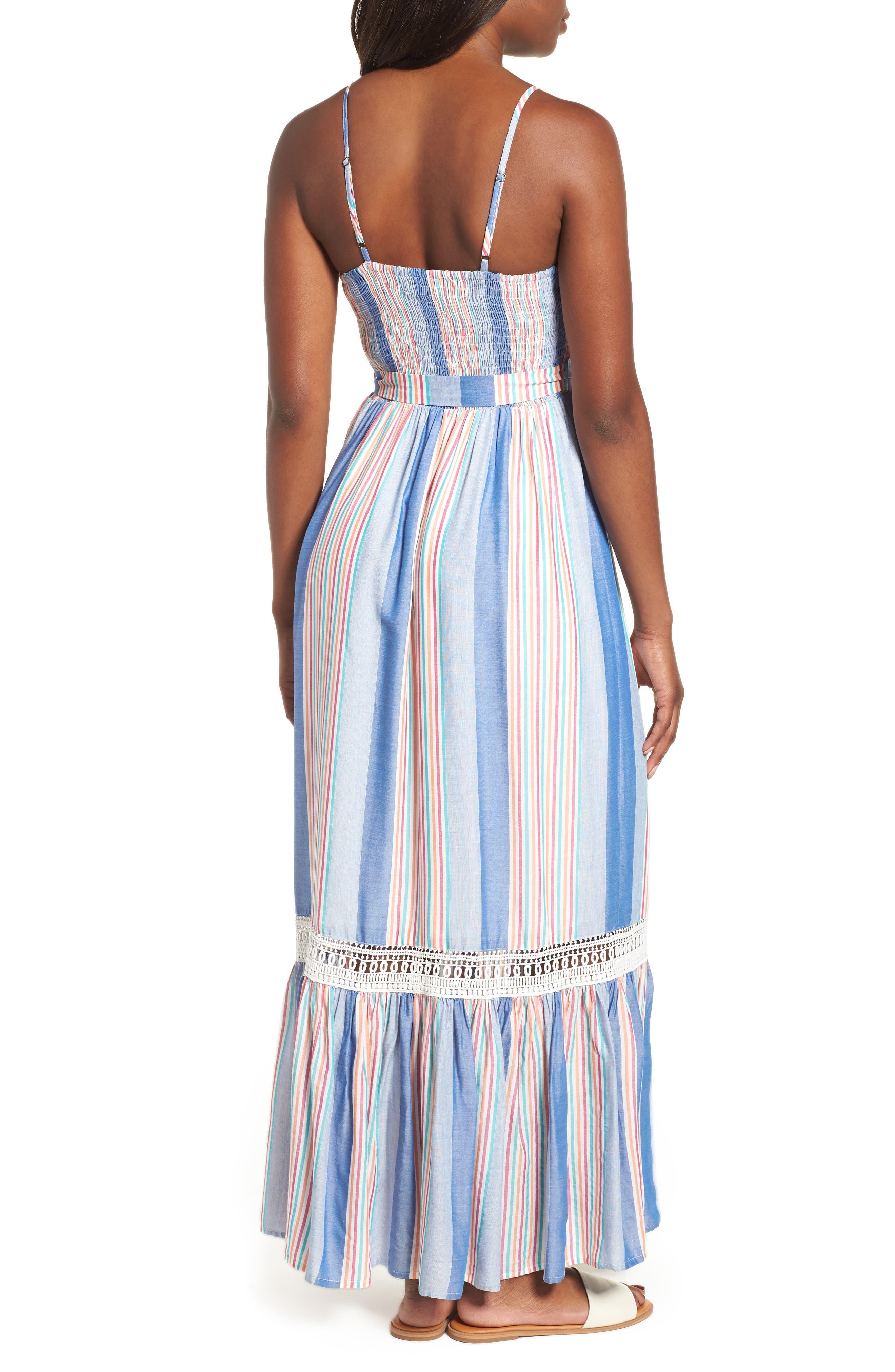 Tie Waist Cotton Maxi Dress,                             Alternate thumbnail 8, color,