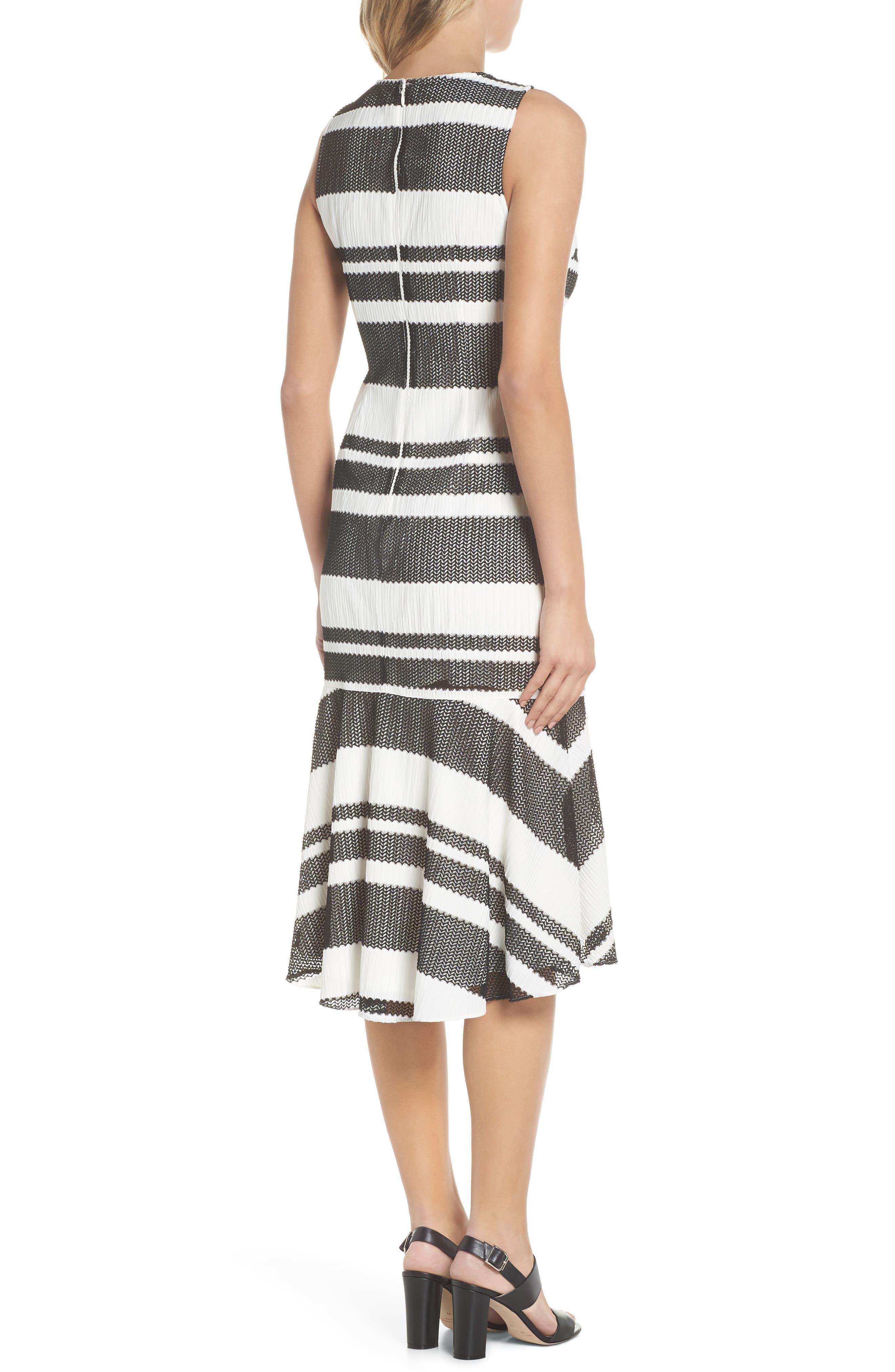 ADRIANNA PAPELL,                             Sleeveless Stripe Trumpet Sheath Dress,                             Alternate thumbnail 2, color,                             004