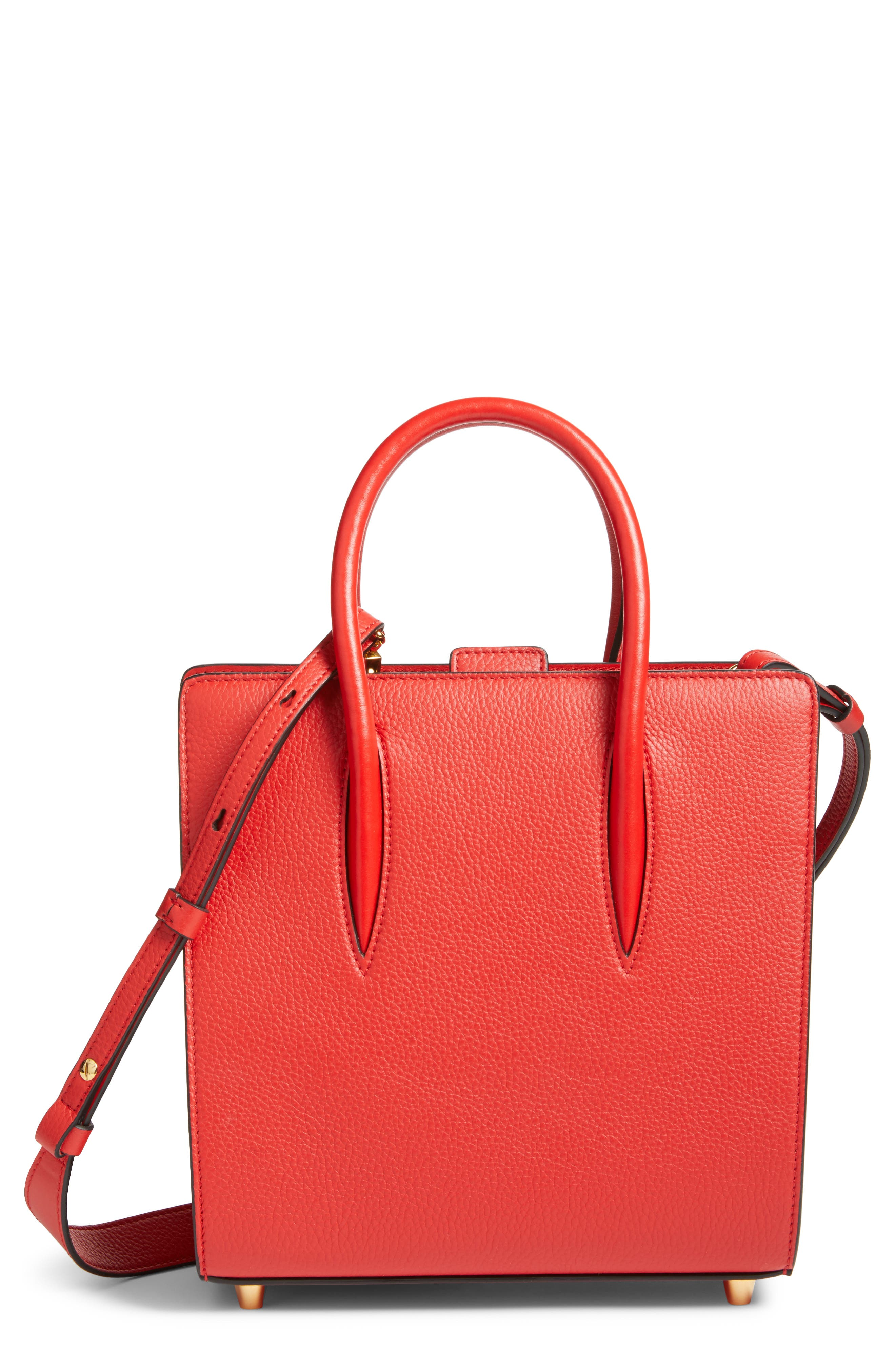 Small Paloma Empire Leather Tote,                         Main,                         color, RED/ RED