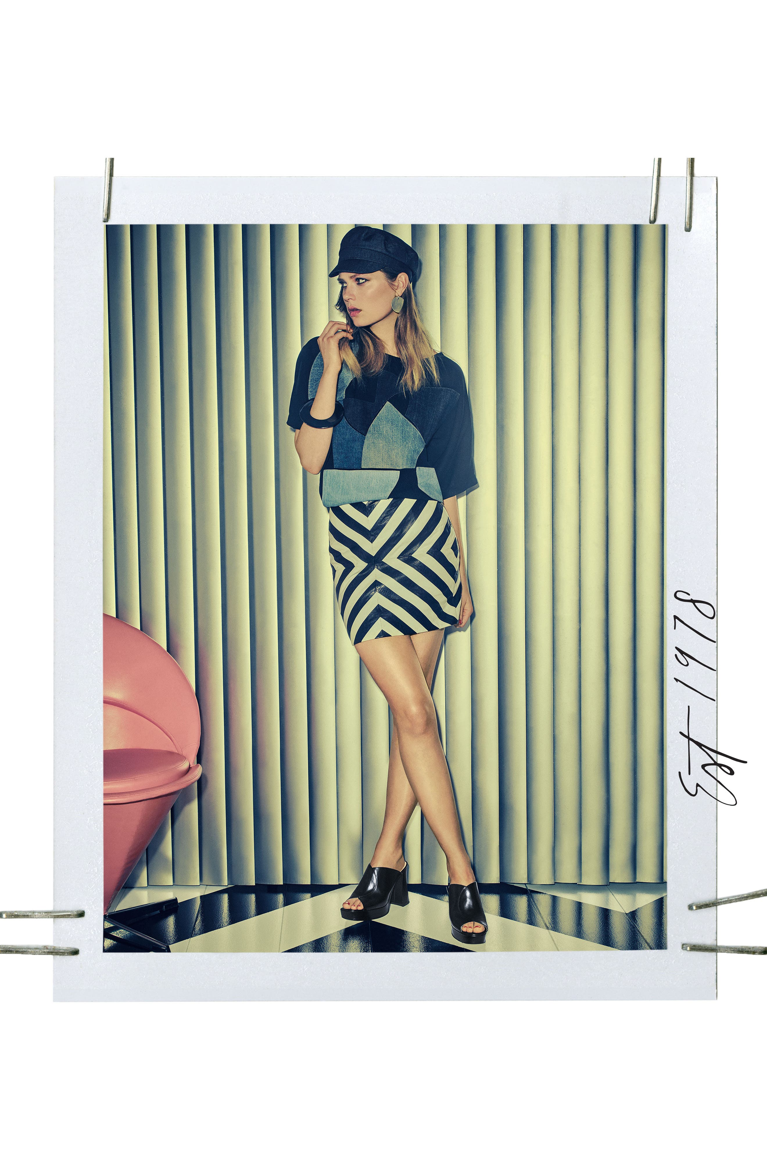 Lisana - 40th Anniversary Capsule Collection Platform Slide Sandal,                             Alternate thumbnail 8, color,                             BLACK LEATHER