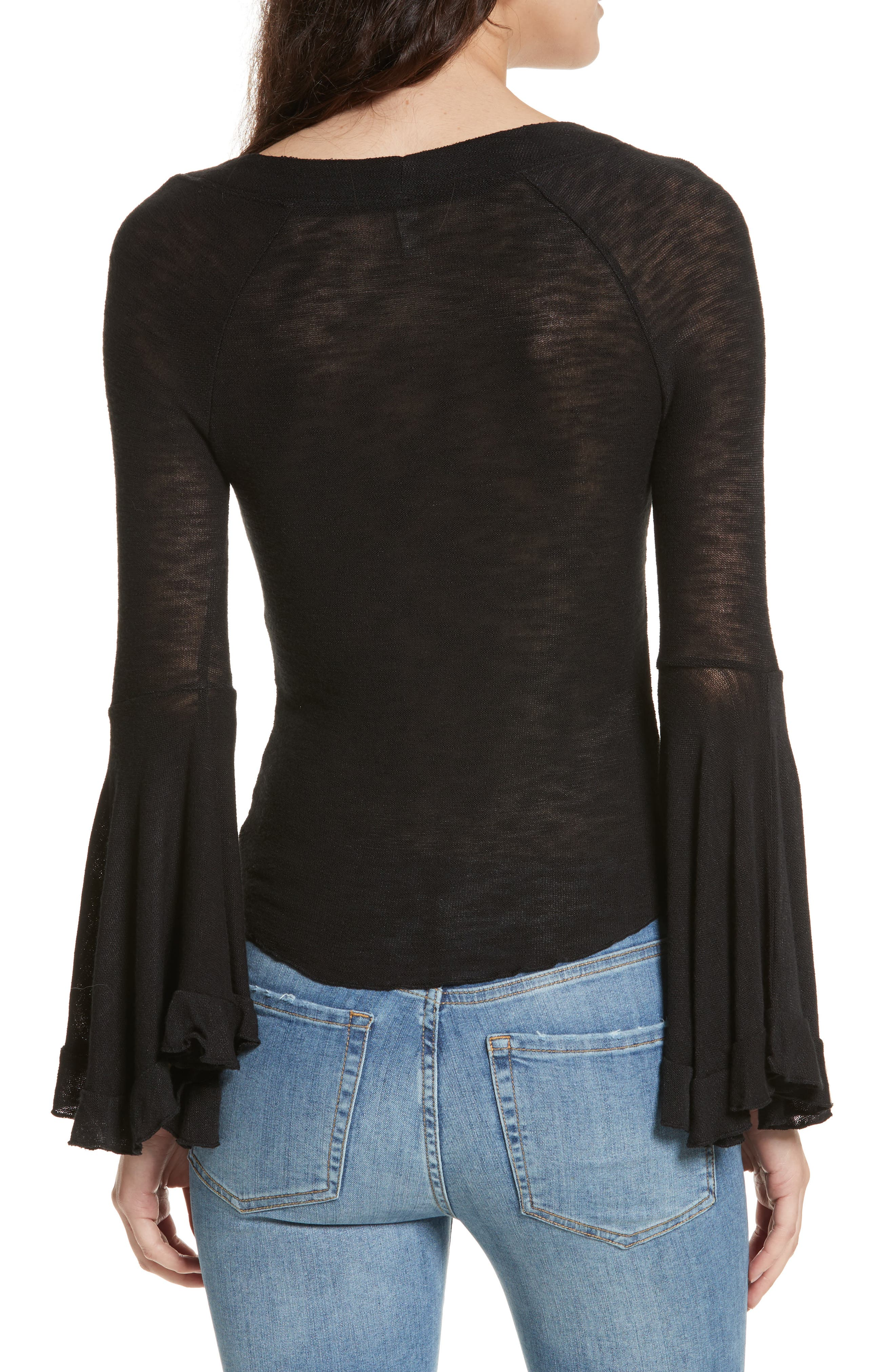 Soo Dramatic Bell Sleeve Top,                             Alternate thumbnail 2, color,                             001