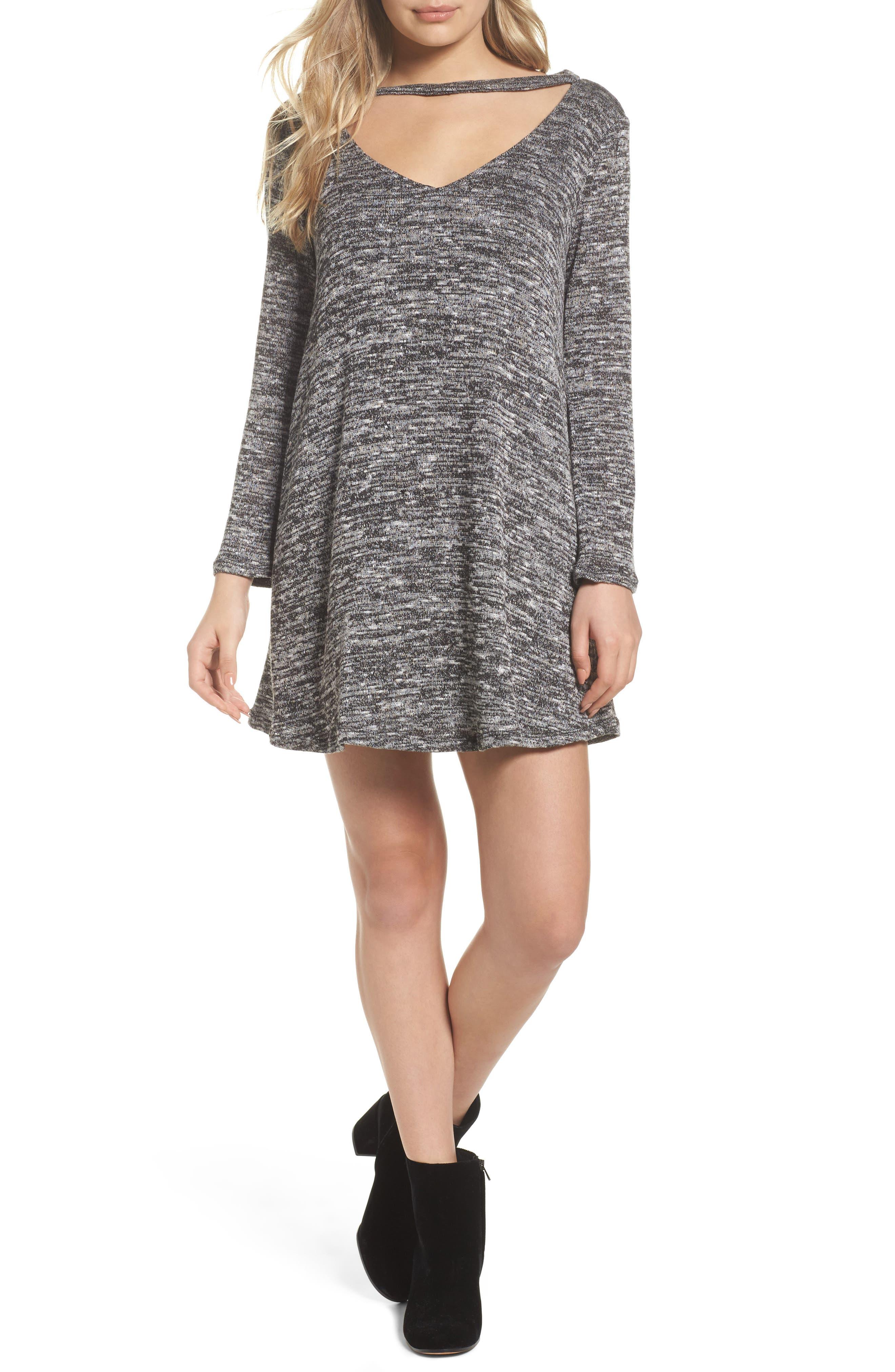 Cutout Sweater Dress,                             Main thumbnail 1, color,                             004