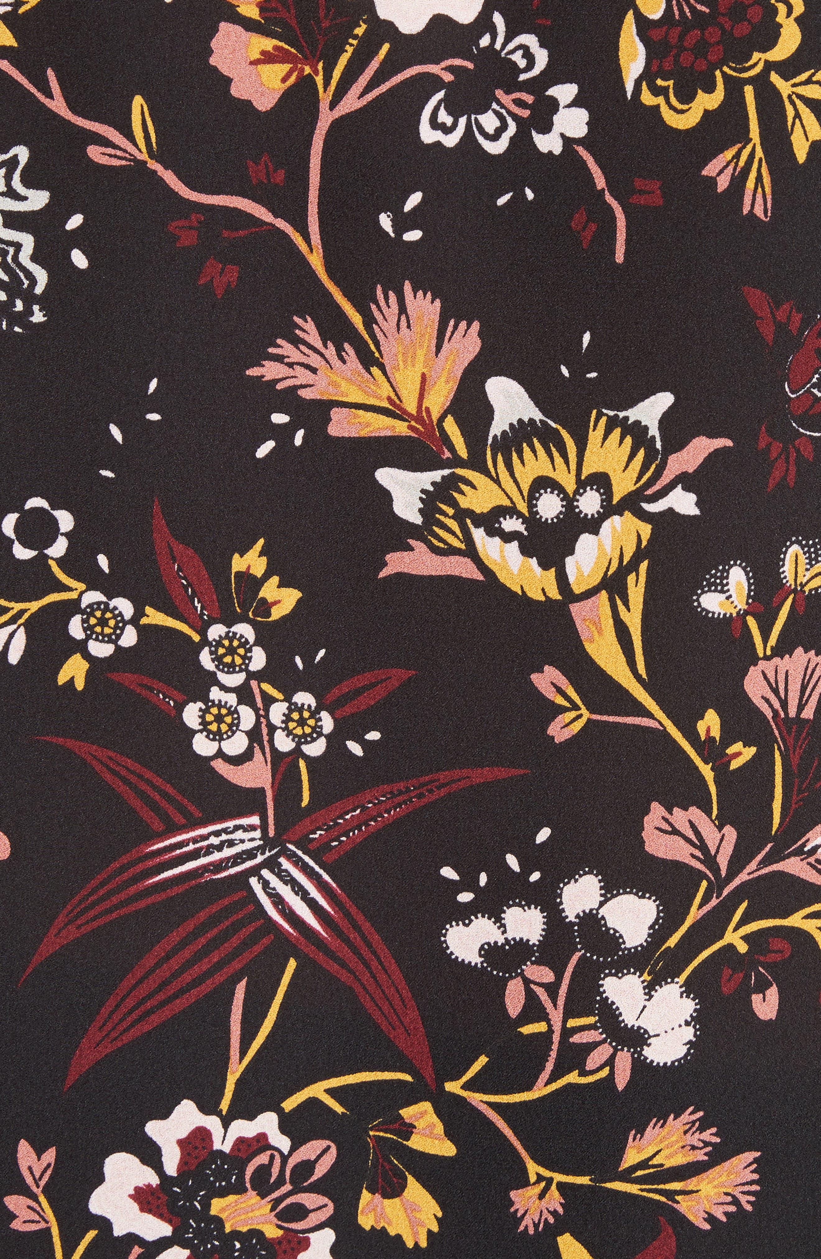 Keith Floral Print Silk Top,                             Alternate thumbnail 5, color,                             002