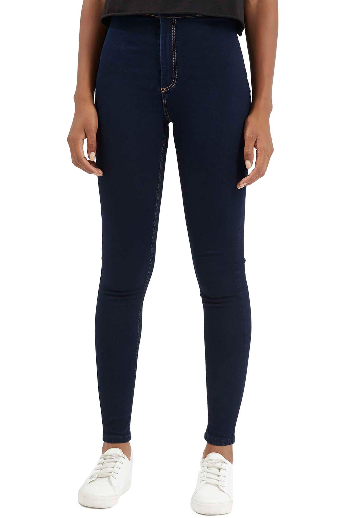Moto 'Joni' Super Skinny Jeans,                         Main,                         color, NAVY BLUE