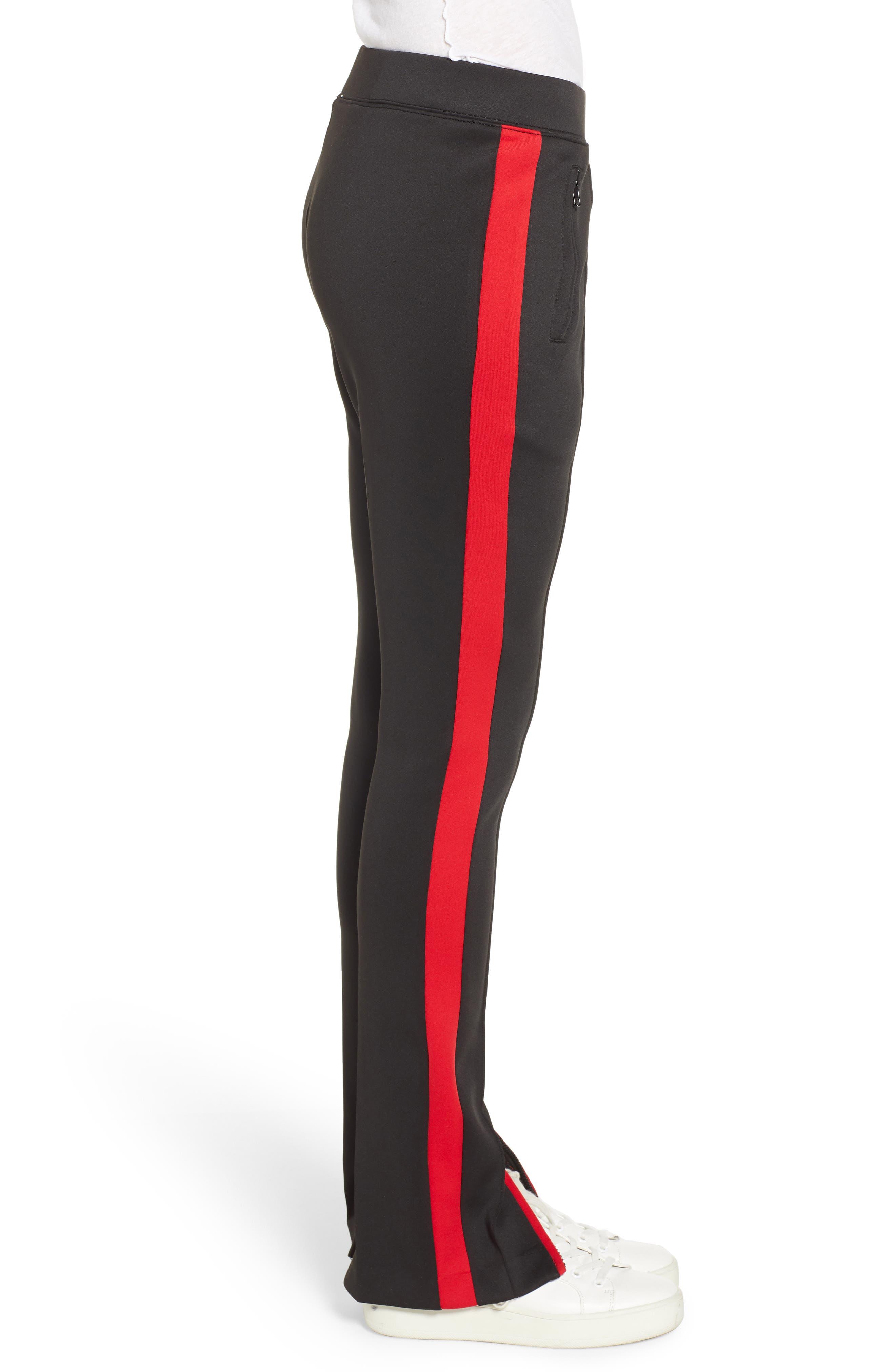 Side Stripe Cigarette Track Pants,                             Alternate thumbnail 3, color,                             BLACK