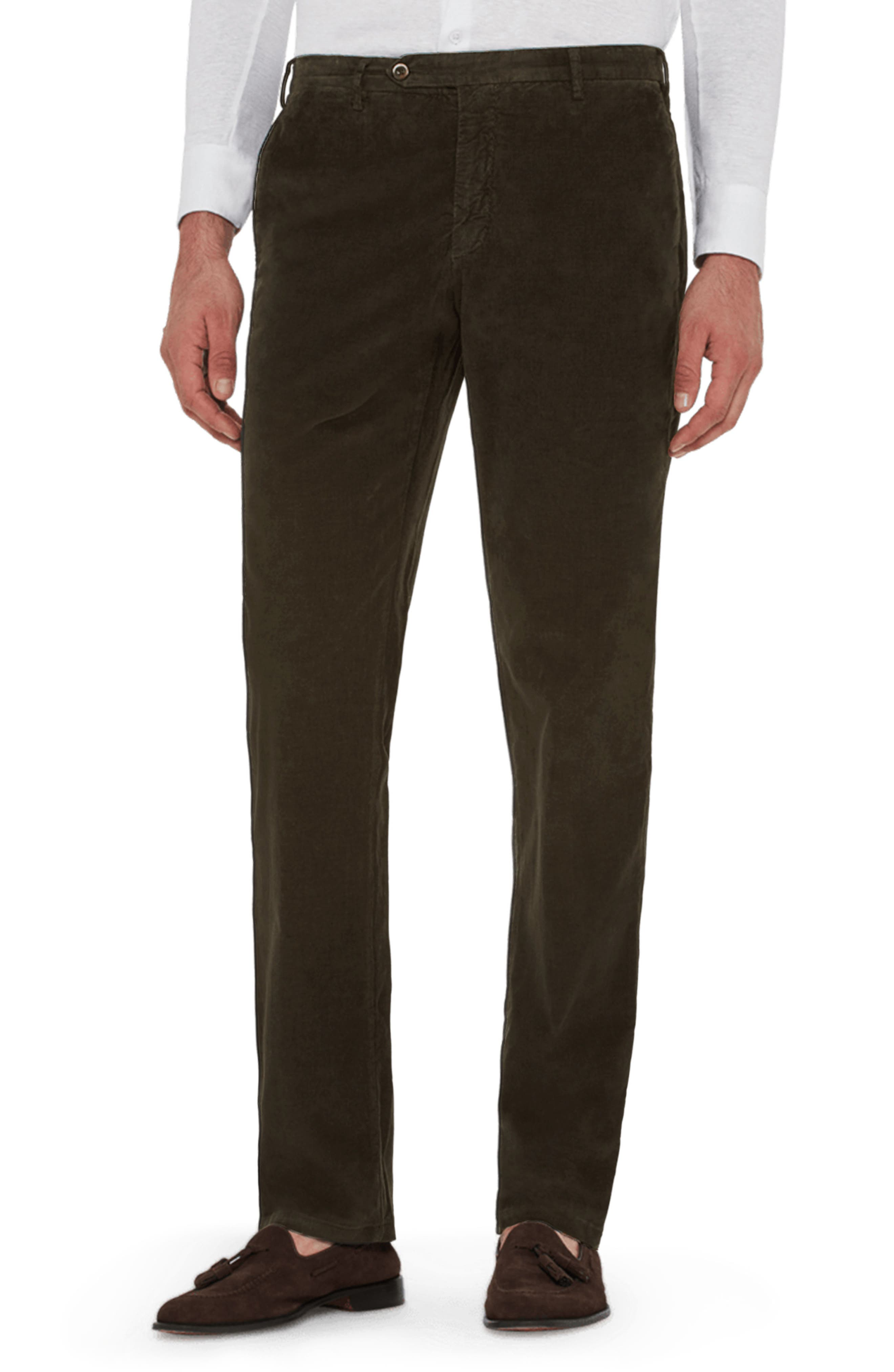 ZANELLA Curtis Flat Front Stretch Corduroy Cotton Trousers in Olive
