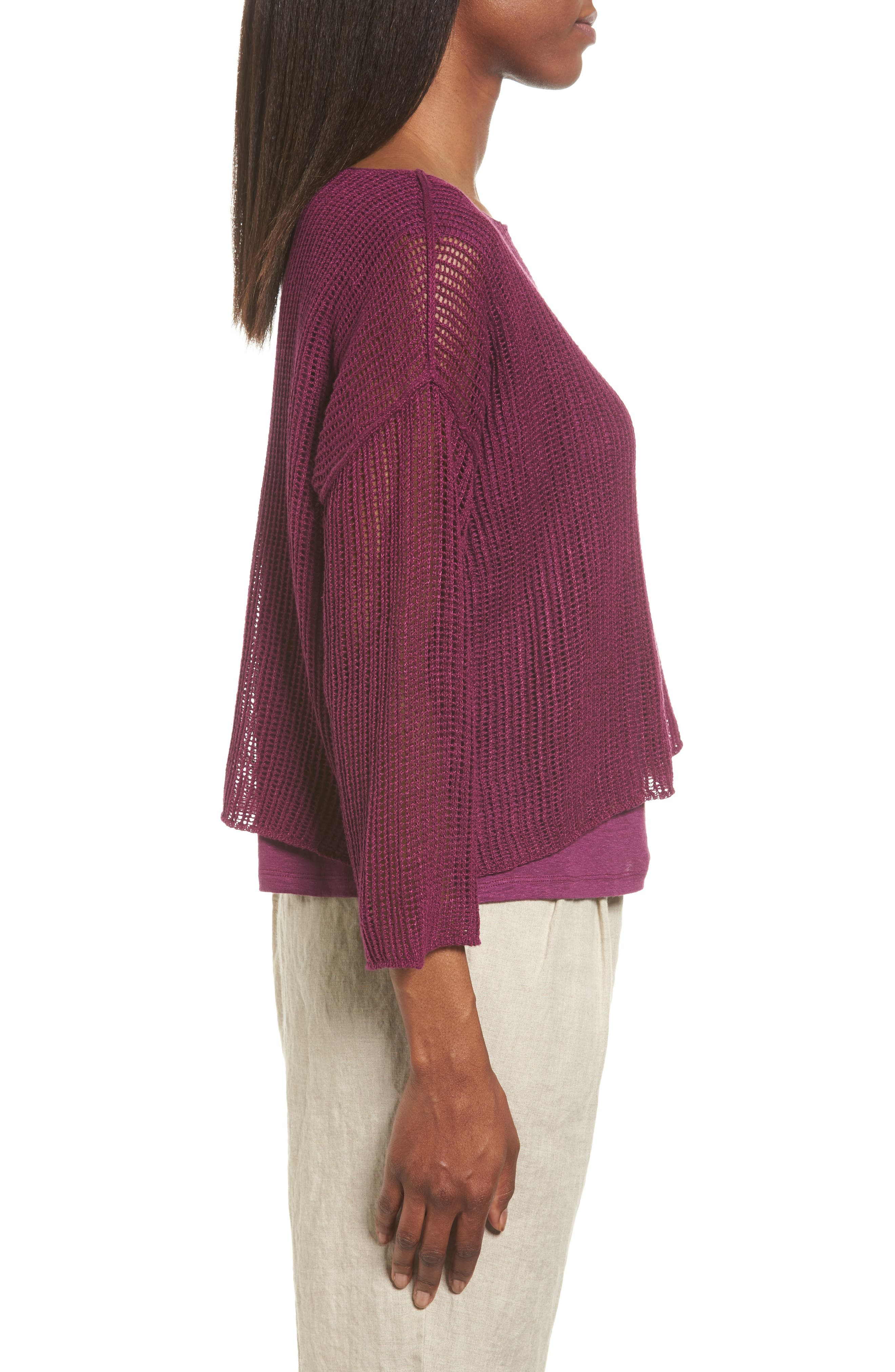 Organic Linen Crop Sweater,                             Alternate thumbnail 15, color,