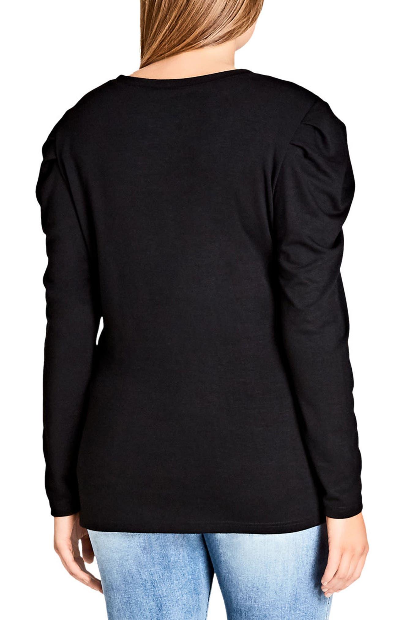 Fancy Shoulder Fleece Knit Top,                             Alternate thumbnail 2, color,                             BLACK