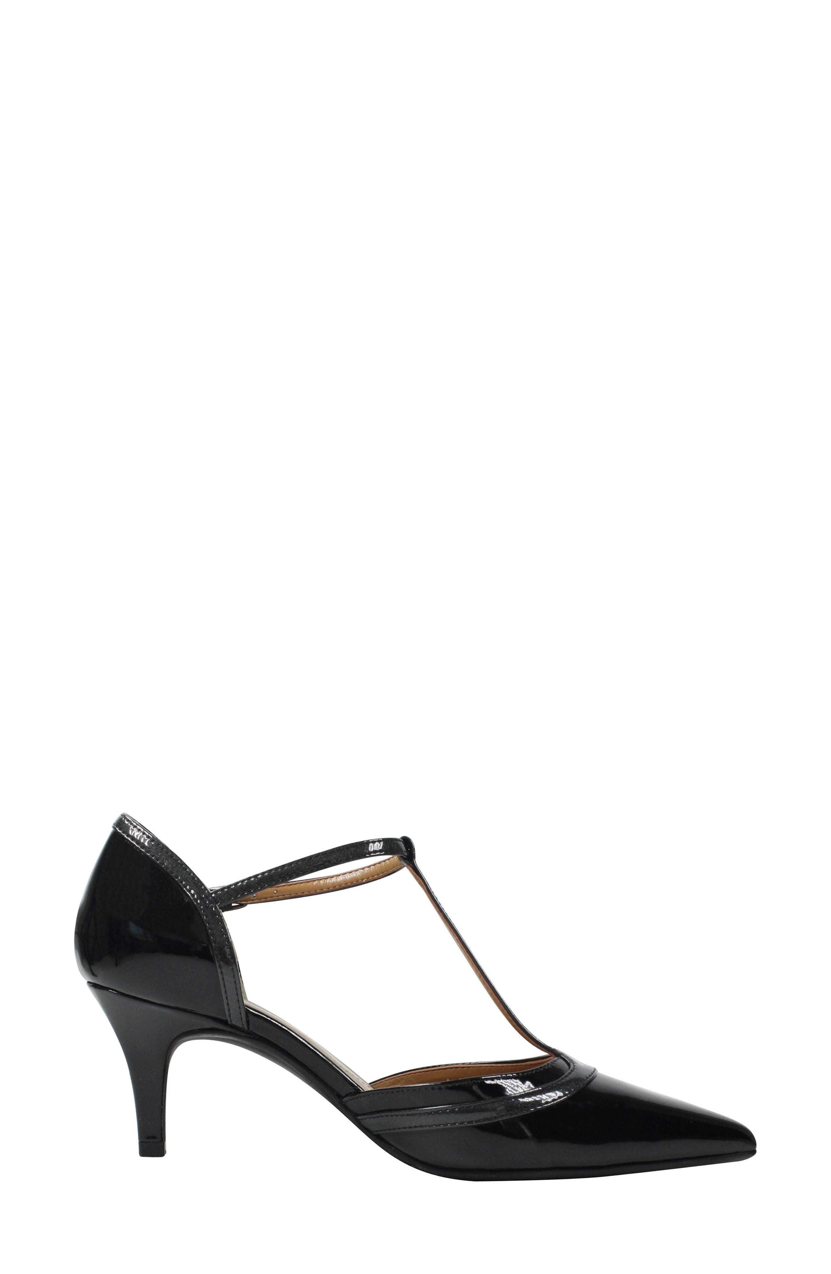 Emiliana T-Strap Pump,                             Alternate thumbnail 3, color,                             001