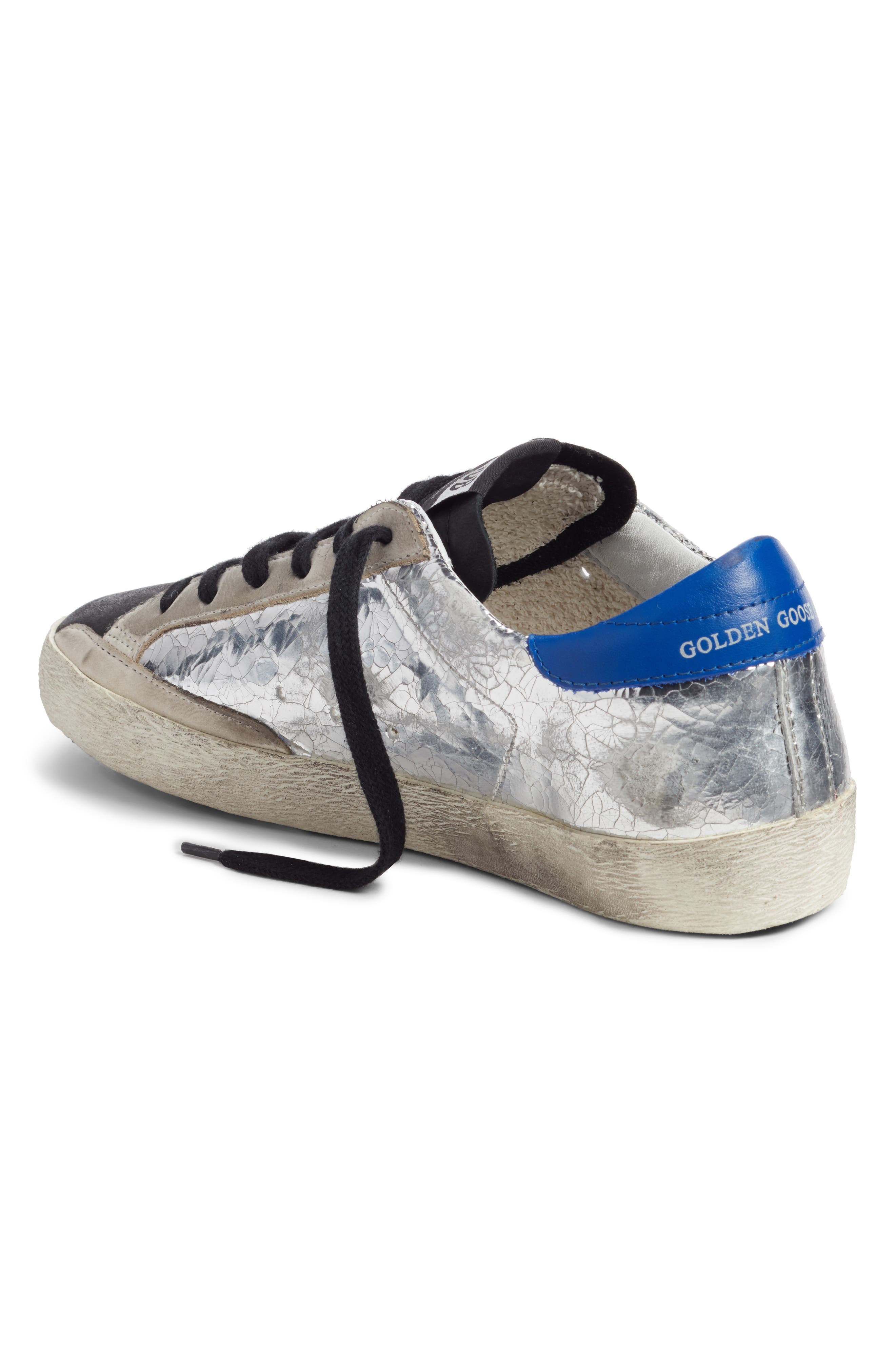 GOLDEN GOOSE,                             Superstar Sneaker,                             Alternate thumbnail 2, color,                             SILVER/ BLUE