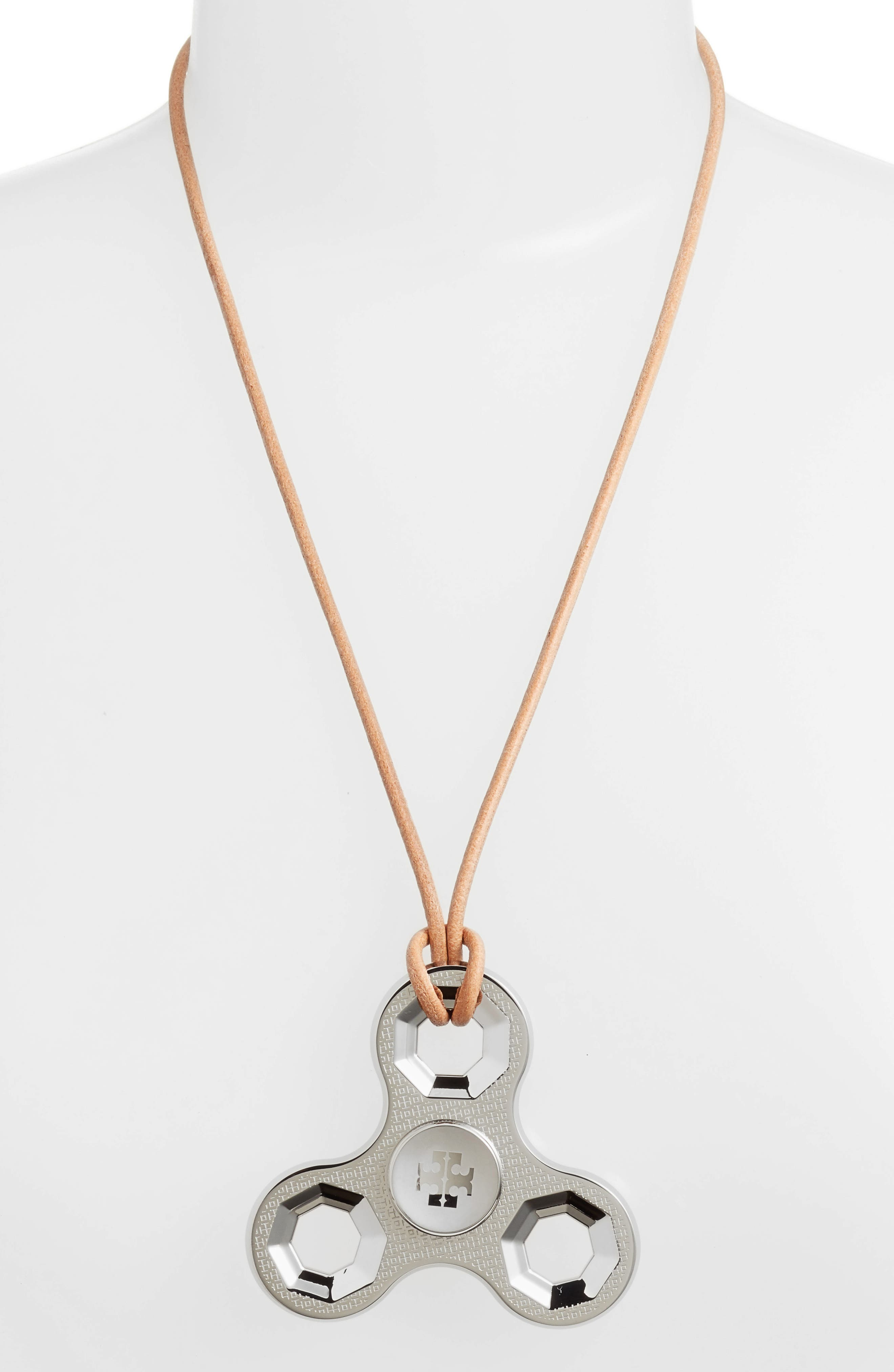 Logo Spinner Leather Necklace,                             Alternate thumbnail 2, color,                             020