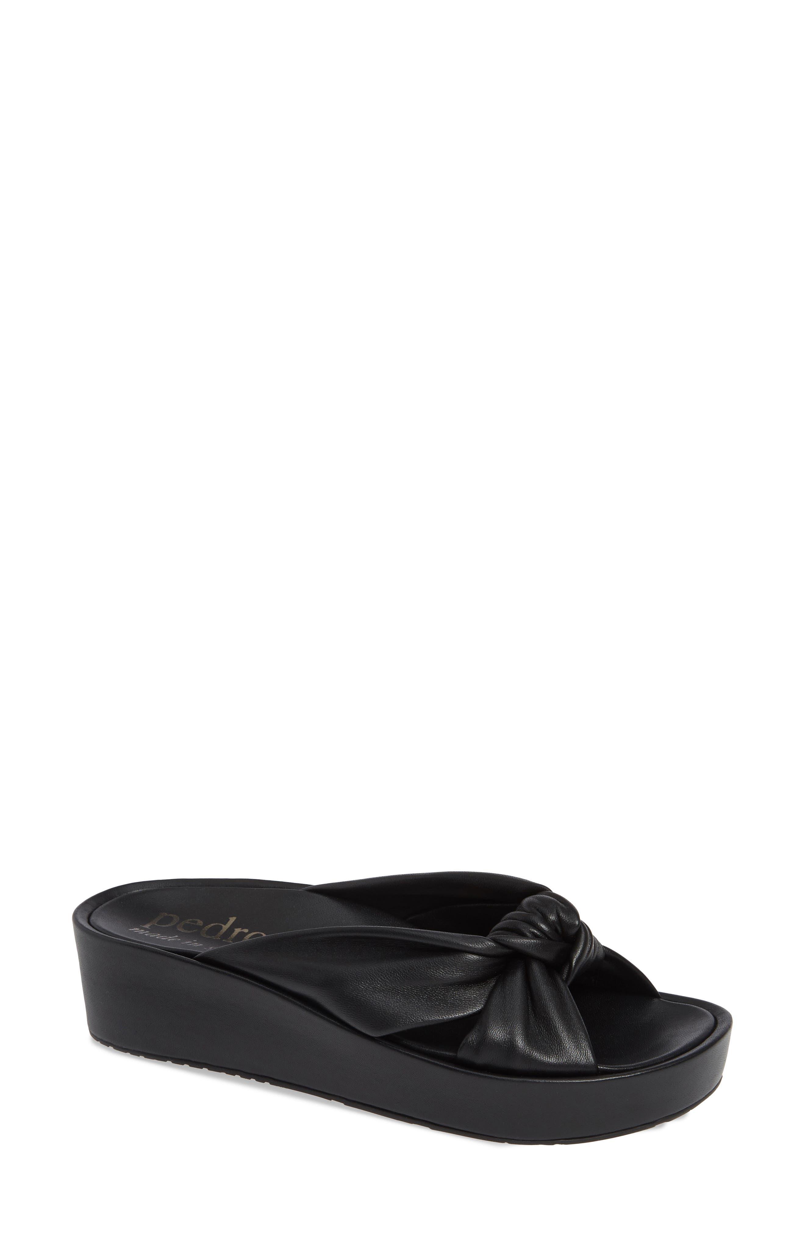 Lany Platform Slide Sandal,                             Main thumbnail 1, color,                             BLACK LEATHER